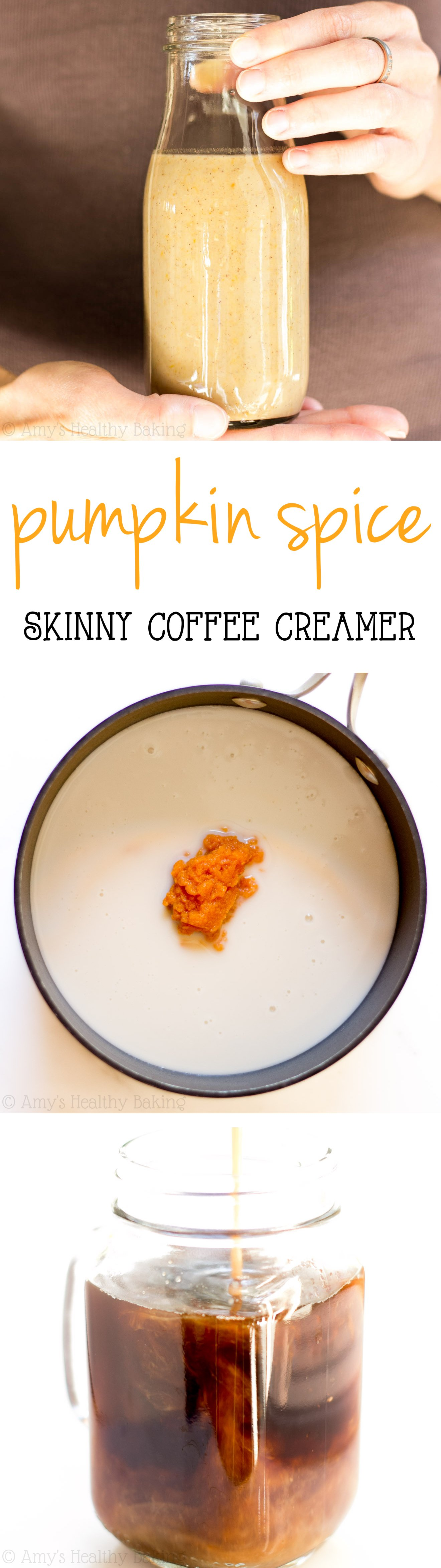 Make your coffee taste like pumpkin pie with this Skinny Pumpkin Spice Coffee Creamer! It's SO easy to make & just 2 calories per tablespoon!