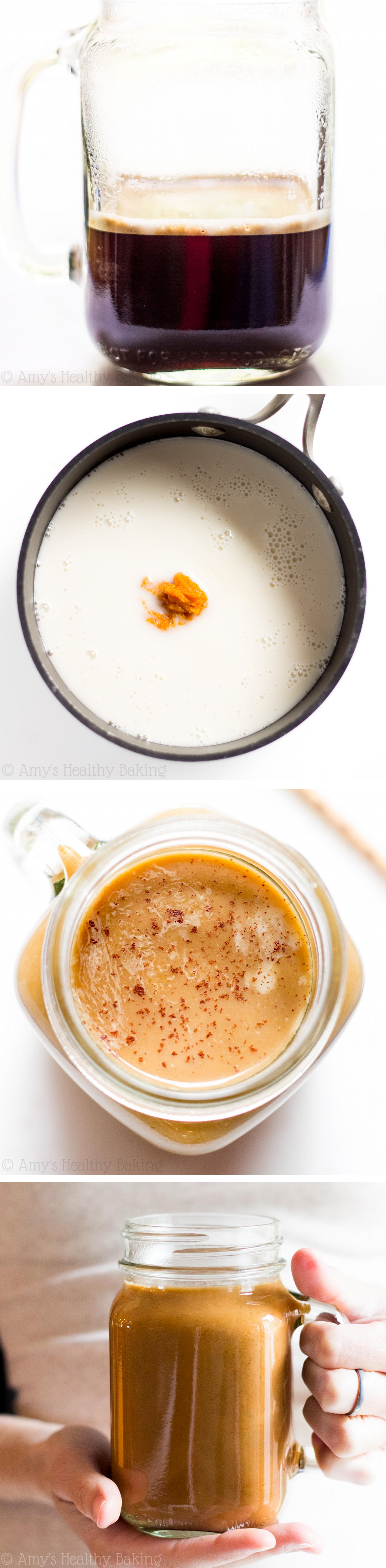 Clean-Eating Pumpkin Spice Latte -- a skinny copycat that tastes even better than the original! Make your own for a fraction of the cost! It has NO refined or artificial ingredients & nearly 9g of protein!