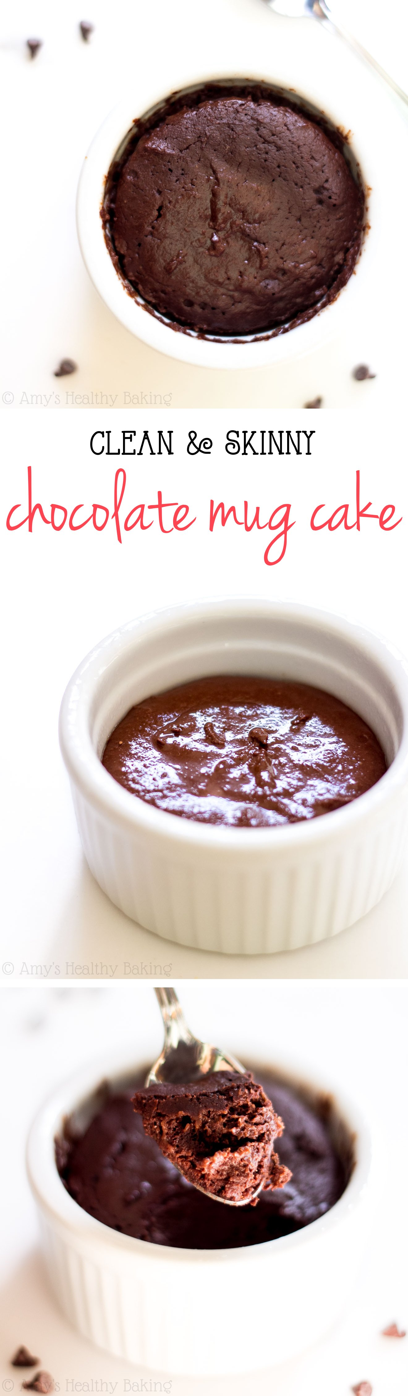 Single-Serving Clean Chocolate Mug Cake -- a decadent cake that's practically healthy enough for breakfast & ready in just 10 minutes! Barely 140 calories with 6g of protein!