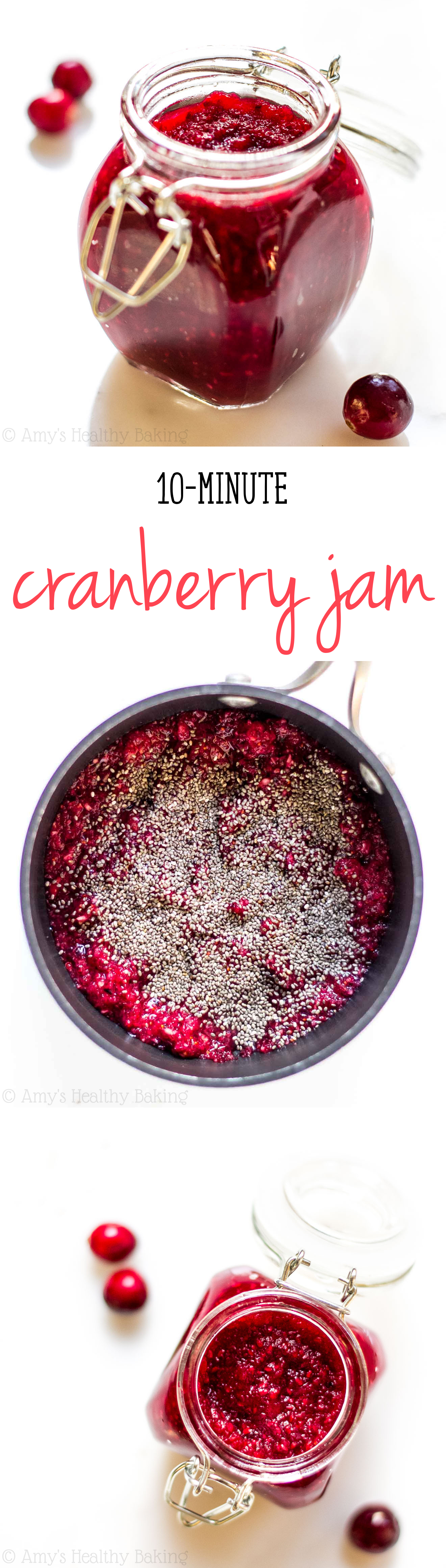This is the EASIEST jam you'll ever make! You just need 4 healthy ingredients & 10 minutes. It's perfect for gifts during the holidays too!