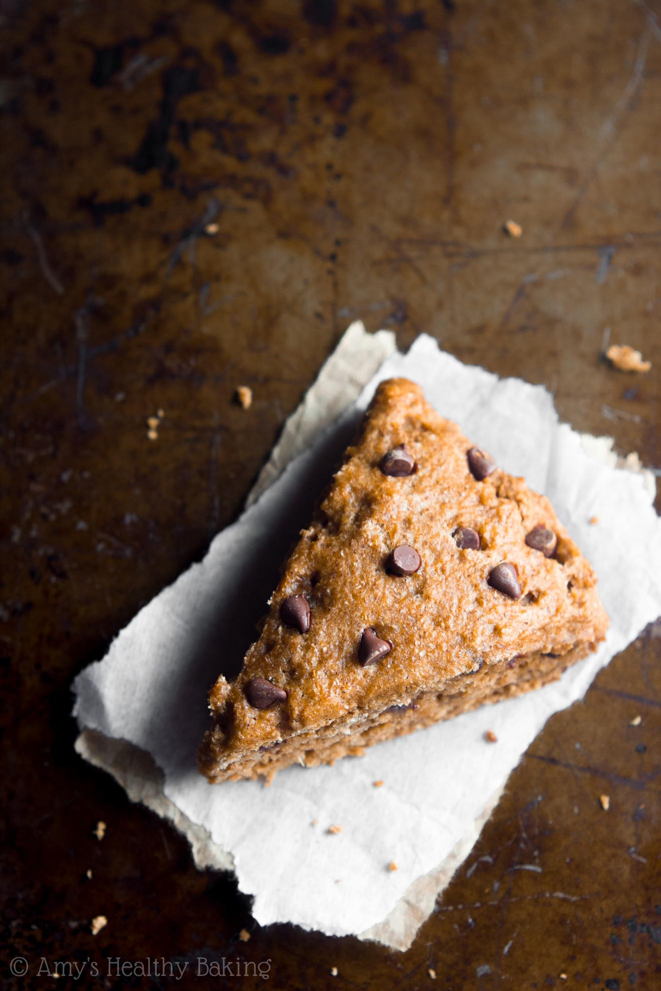 Healthy Chocolate Chip Gingerbread Scones -- say good-bye to dry, crumbly scones forever! These are SO easy to make, supremely tender & packed with nearly 5g of protein!