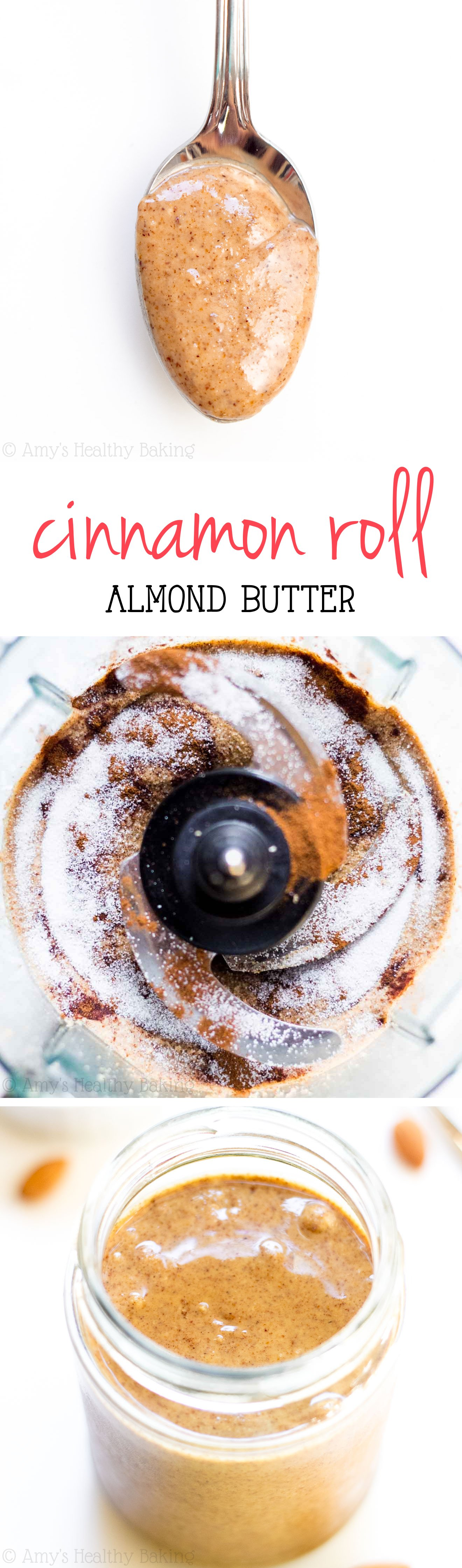 Cinnamon Roll Almond Butter -- you just need 4 ingredients & 10 minutes! It really tastes like cinnamon rolls & costs half the price of store-bought!