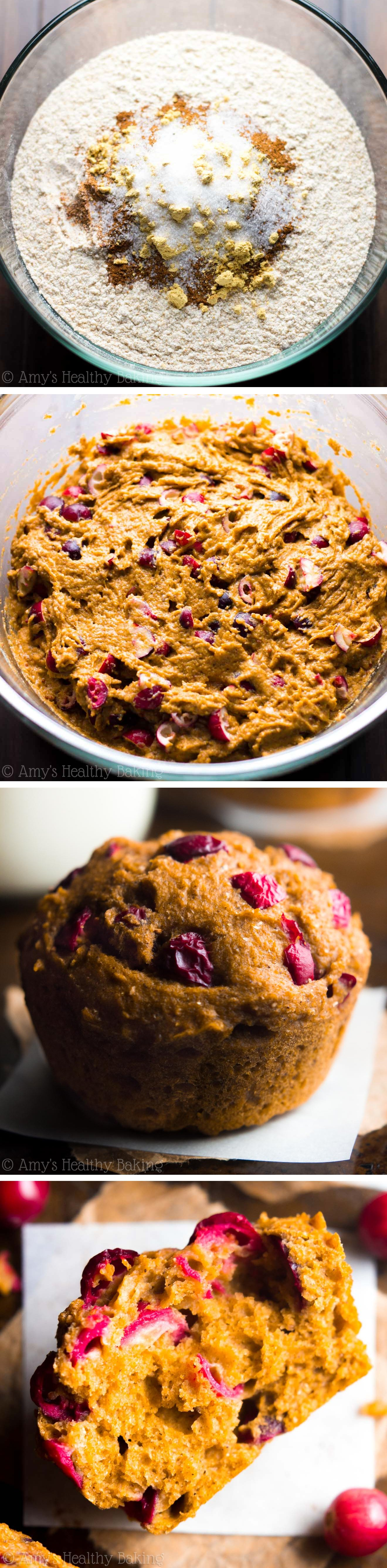 Healthy Cranberry Pumpkin Muffins -- SO easy to make! They practically taste like cupcakes for breakfast!