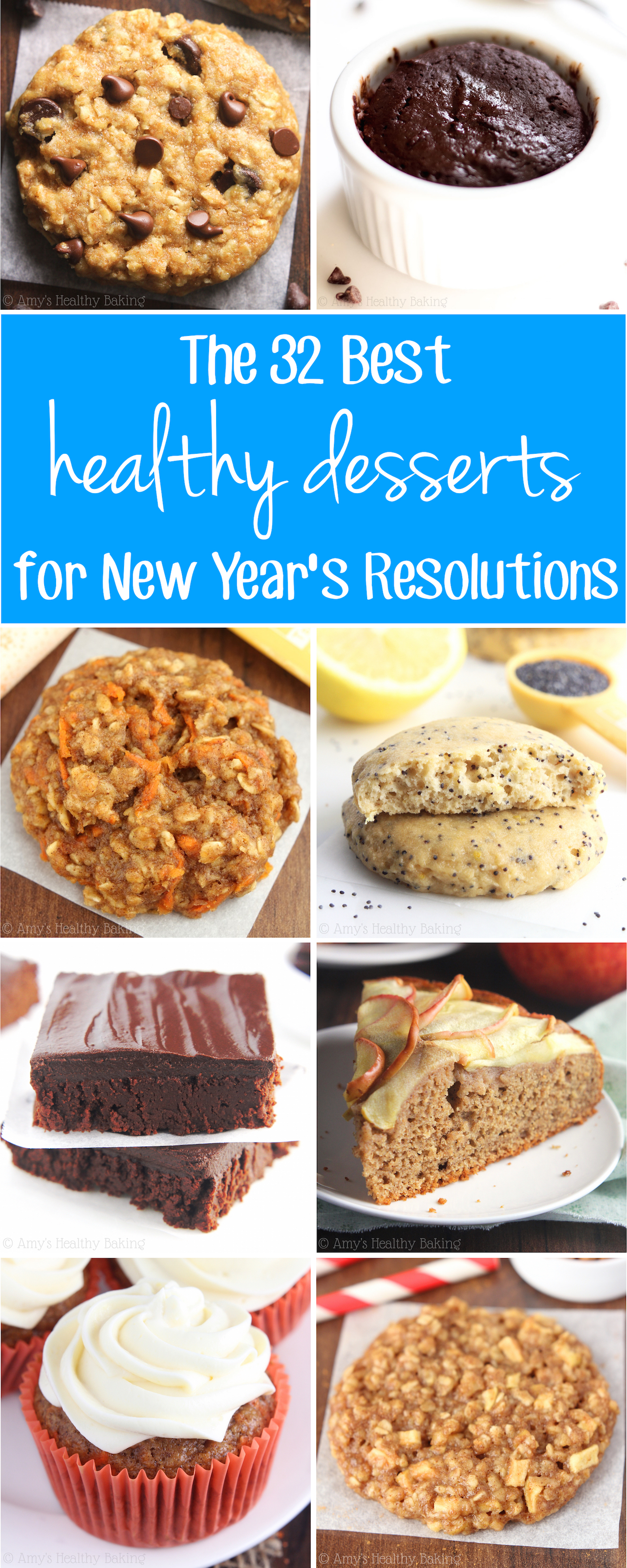 The BEST dessert recipes to help you with your New Year's Resolutions! They contain NO butter, refined flour or sugar -- but don't taste healthy at all! Plus 19 bonus recipes, too!
