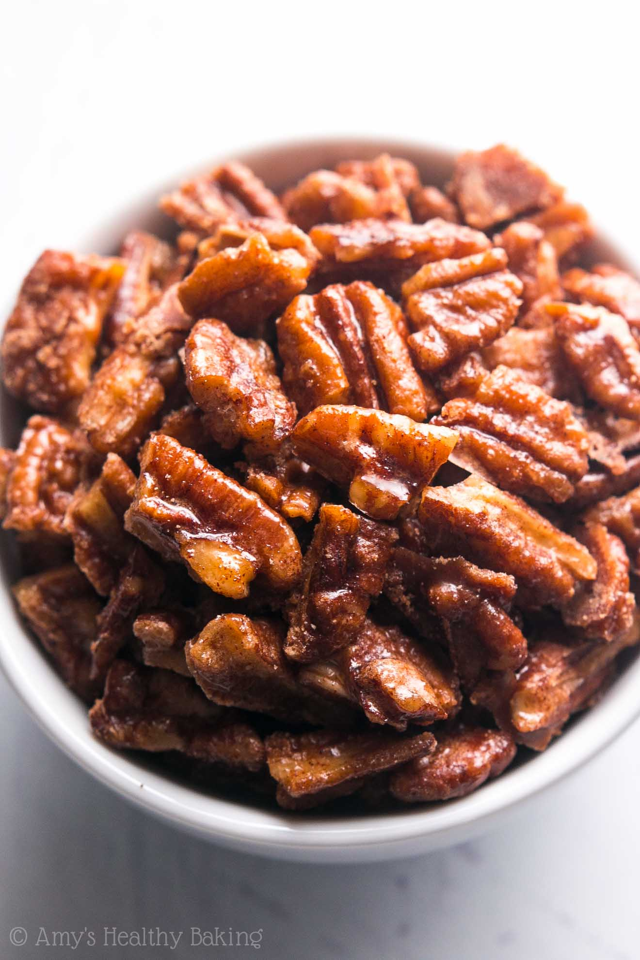 The easiest, quickest, BEST recipe for candied pecans you'll ever try! These taste EXACTLY like pecan pie but without all the work!