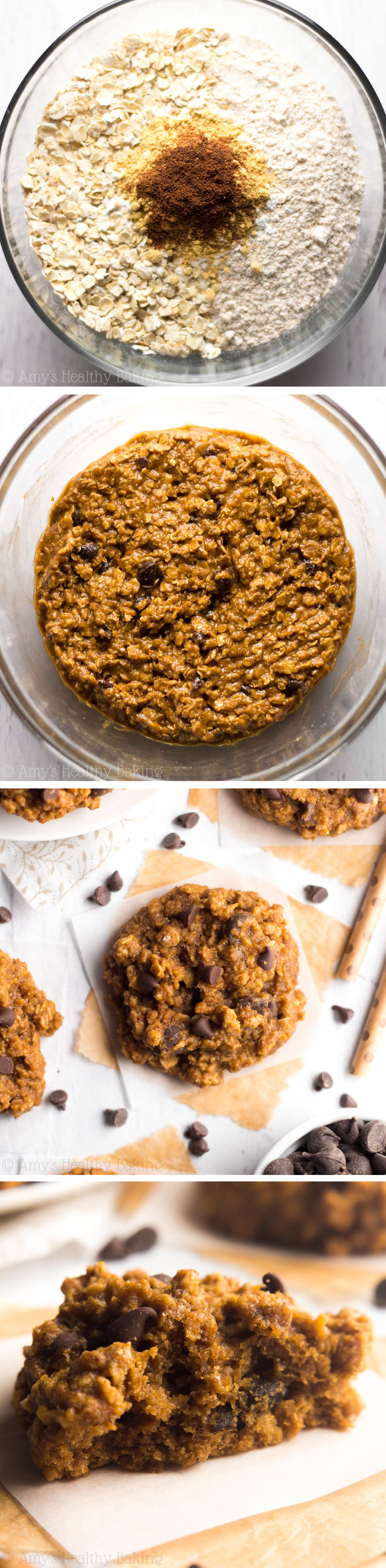 Clean-Eating Chocolate Chip Gingerbread Oatmeal Cookies -- SO chewy & addictive! These skinny cookies don't taste healthy at all!