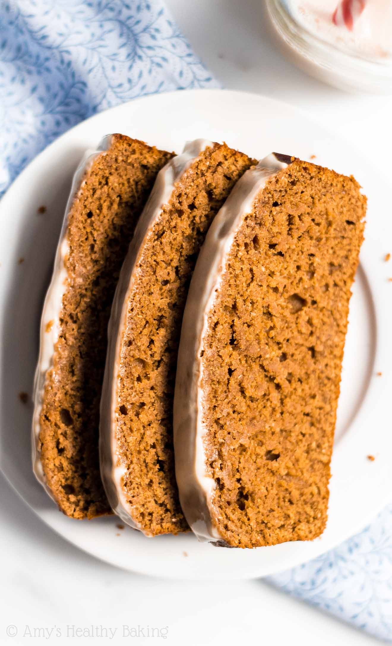 Hands down, the BEST gingerbread recipe I've ever tried!! It tastes like cake for breakfast -- not healthy at all! -- thanks to a secret ingredient that makes it so tender!