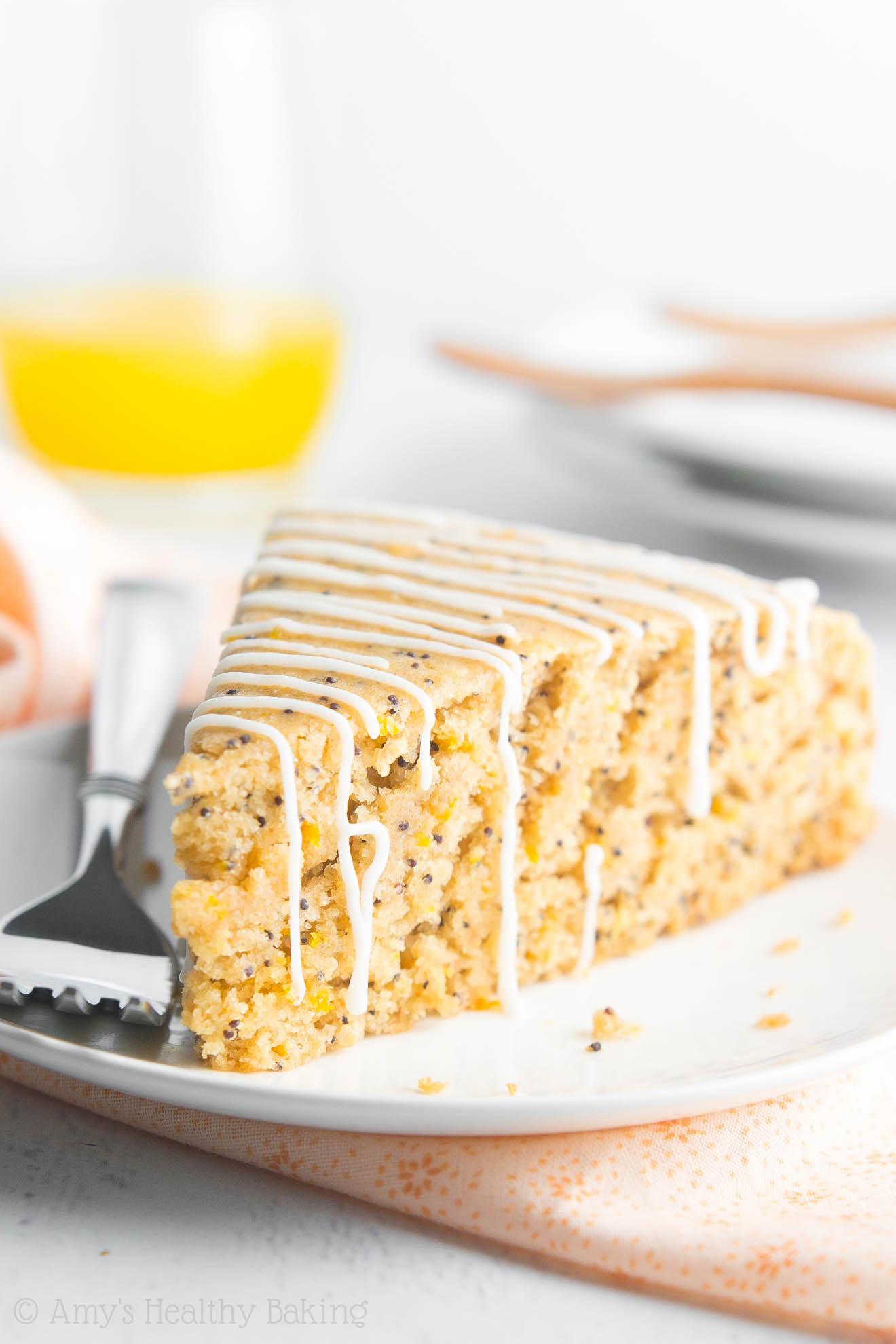 This tender cake is so easy to make! It's full of sunshiny flavor & SECRETLY healthy enough for breakfast!