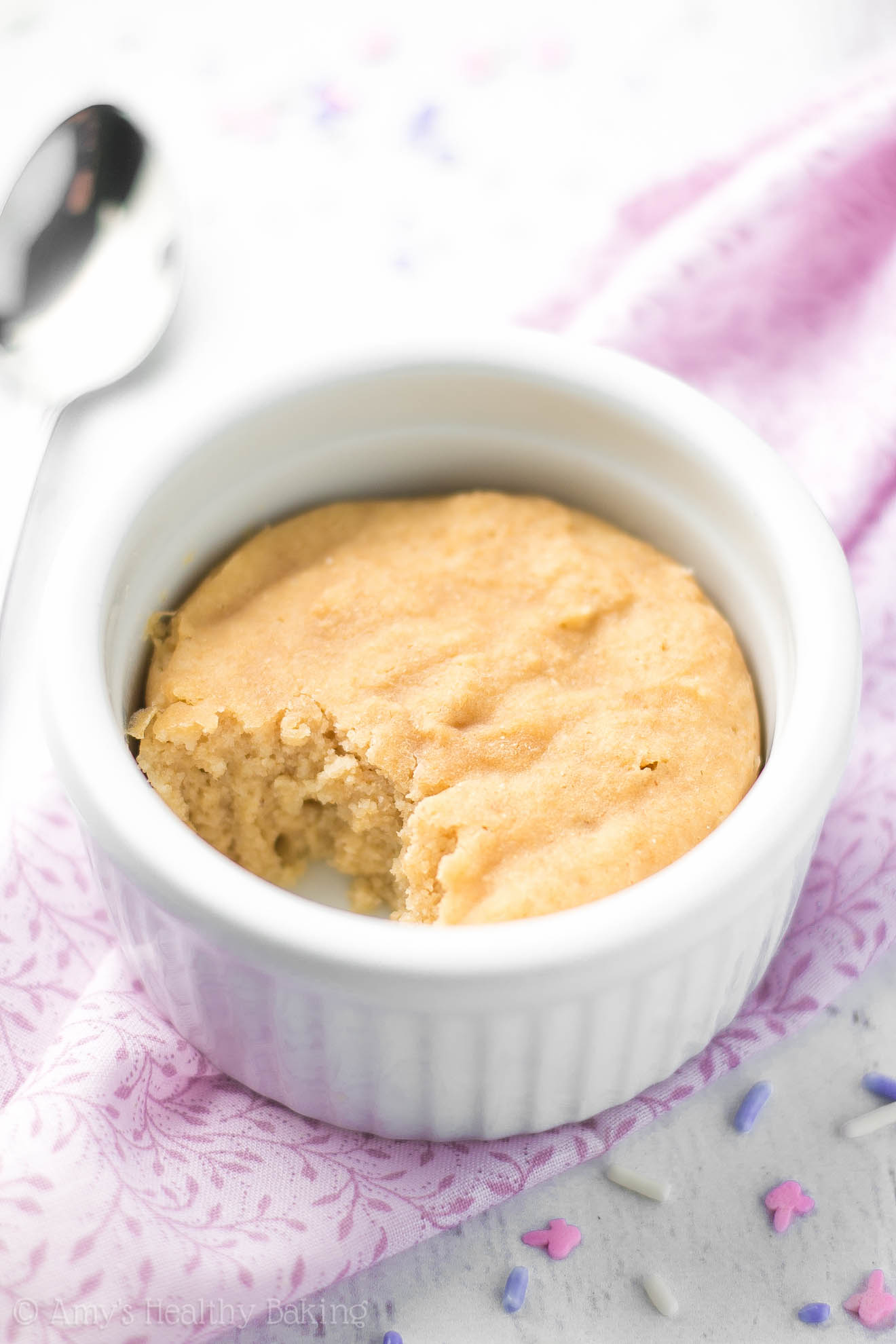 The BEST vanilla mug cake you'll ever try! It doesn't taste healthy at all! Sweet, perfectly tender & completely guilt-free!