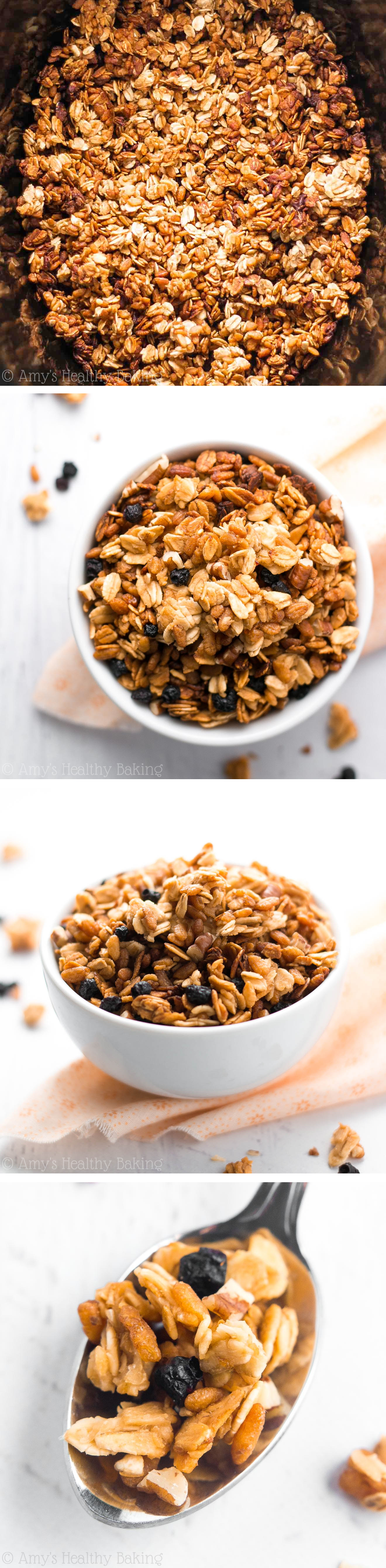 Learn how to make granola in the crockpot with this GENIUS trick! So easy, so crunchy, so good!!