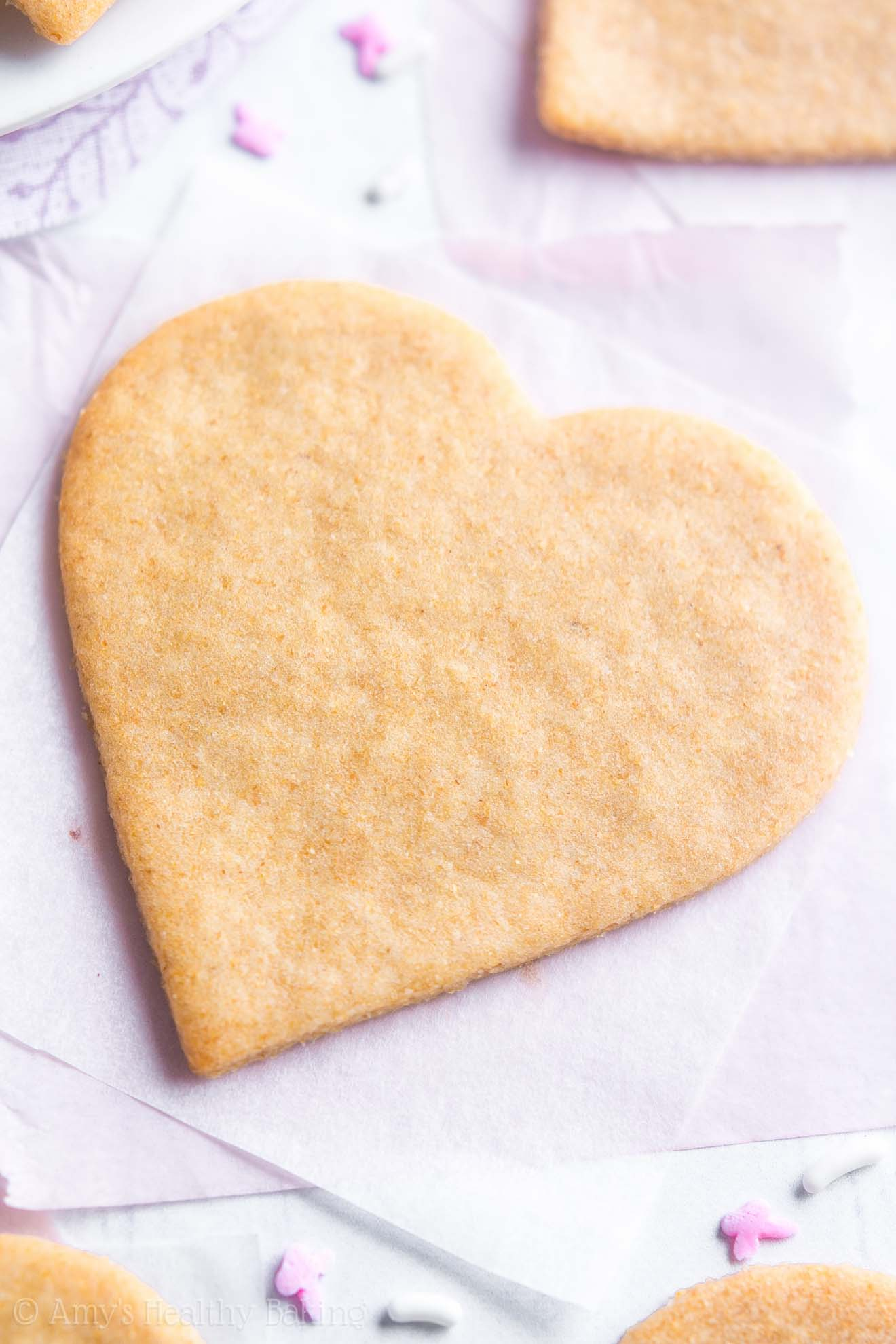 The ULTIMATE Healthy Soft Cut-Out Sugar Cookies, in heart shapes
