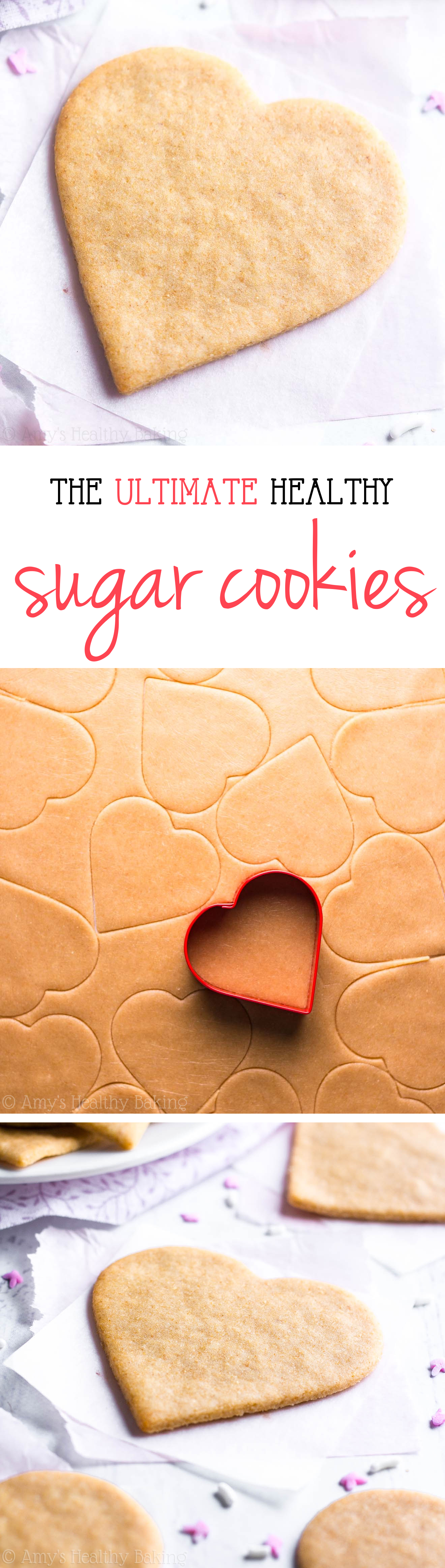 The ULTIMATE Healthy Sugar Cookies -- these skinny cookies don't taste healthy at all! They're the BEST -- soft, buttery & so easy! You'll never need another sugar cookie recipe again!