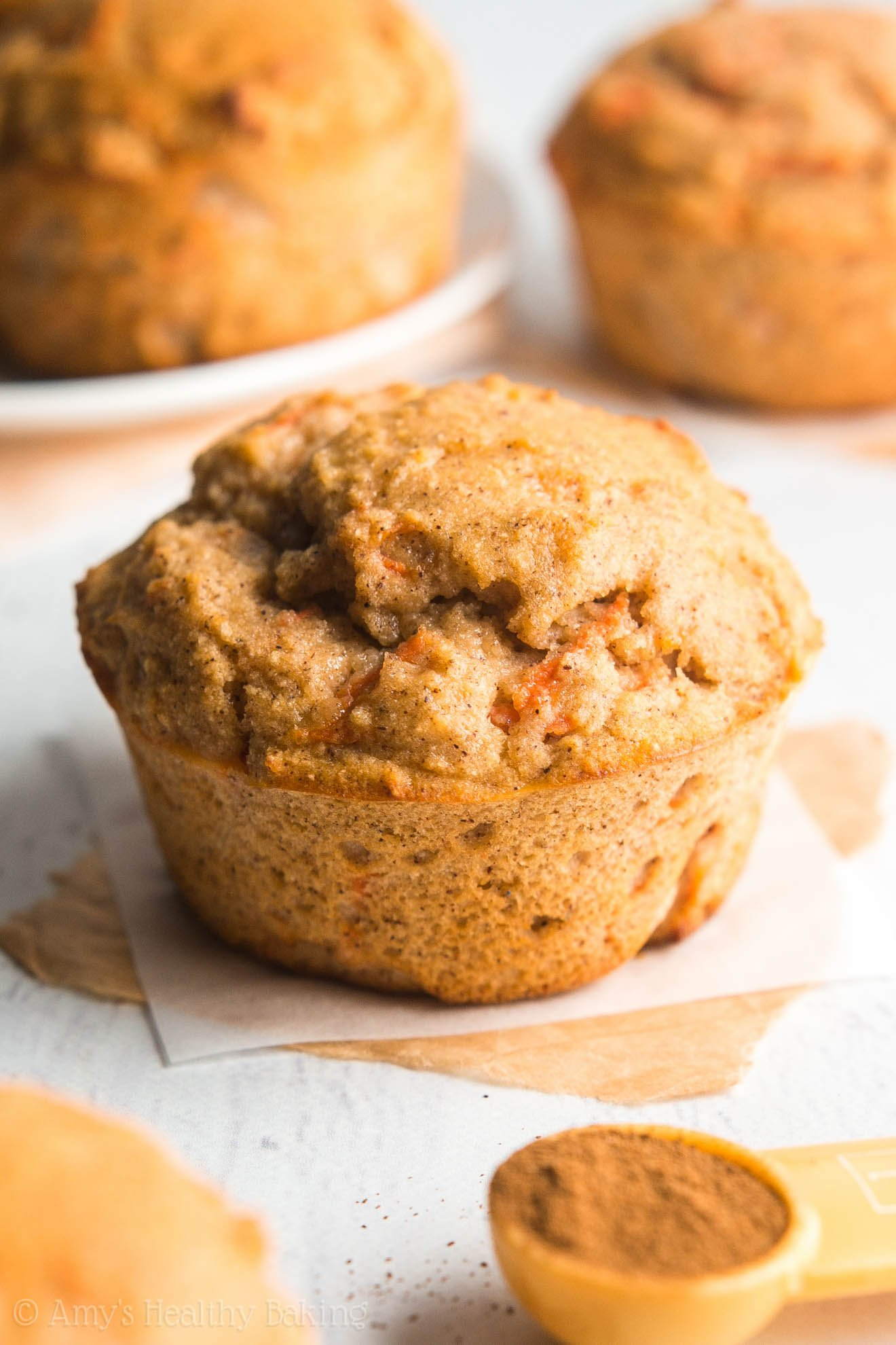 These healthy muffins taste just like carrot cake & have nearly 10g of protein! It's like eating dessert for breakfast without any guilt!