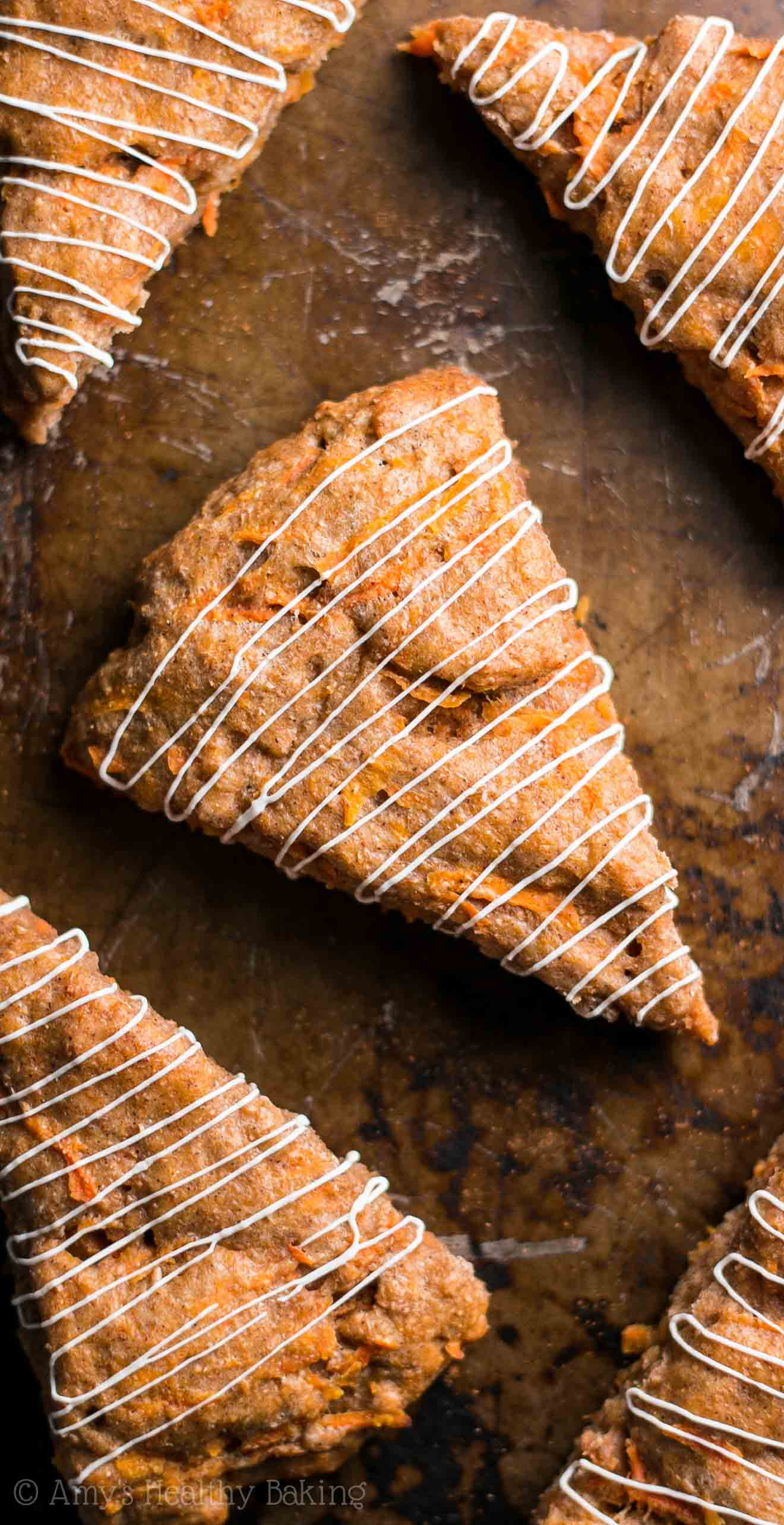 Clean-Eating Carrot Cake Scones -- so easy, supremely tender & packed with 5g+ of protein! They taste like the dessert, not healthy at all!