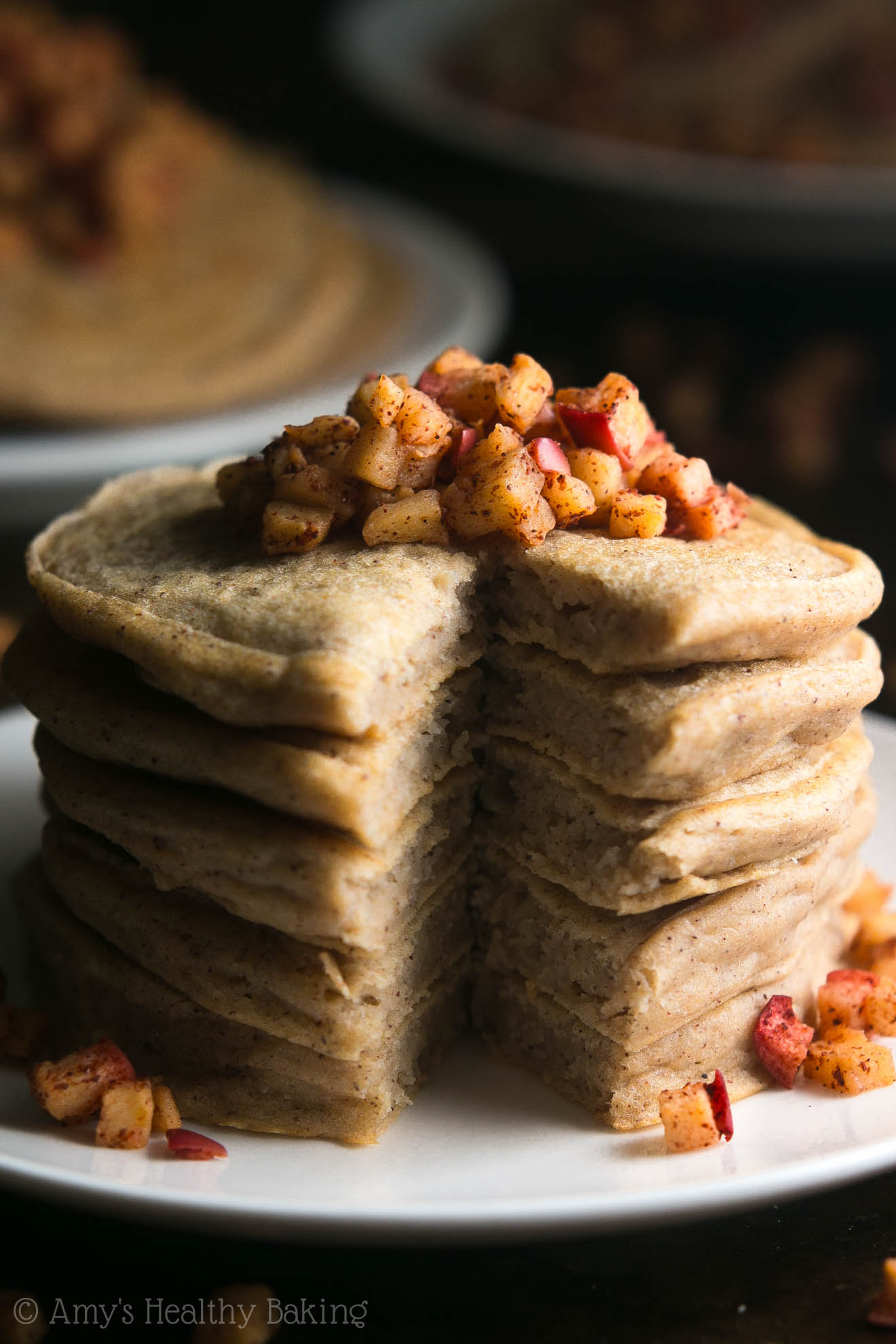 Healthy Cinnamon Apple Pancakes -- light, tender & so flavorful! A perfect guilt-free breakfast treat! (Bonus: they freeze really well too!)