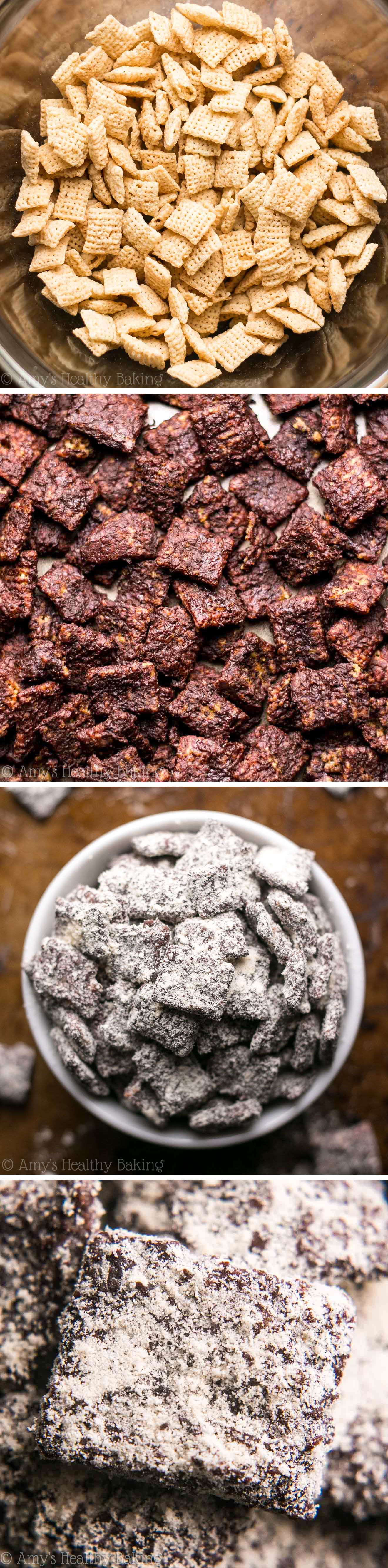 Sweet, crunchy & SO good!! This recipe for skinny puppy chow {muddy buddies} doesn't taste healthy at all! (With 6g+ of protein!)