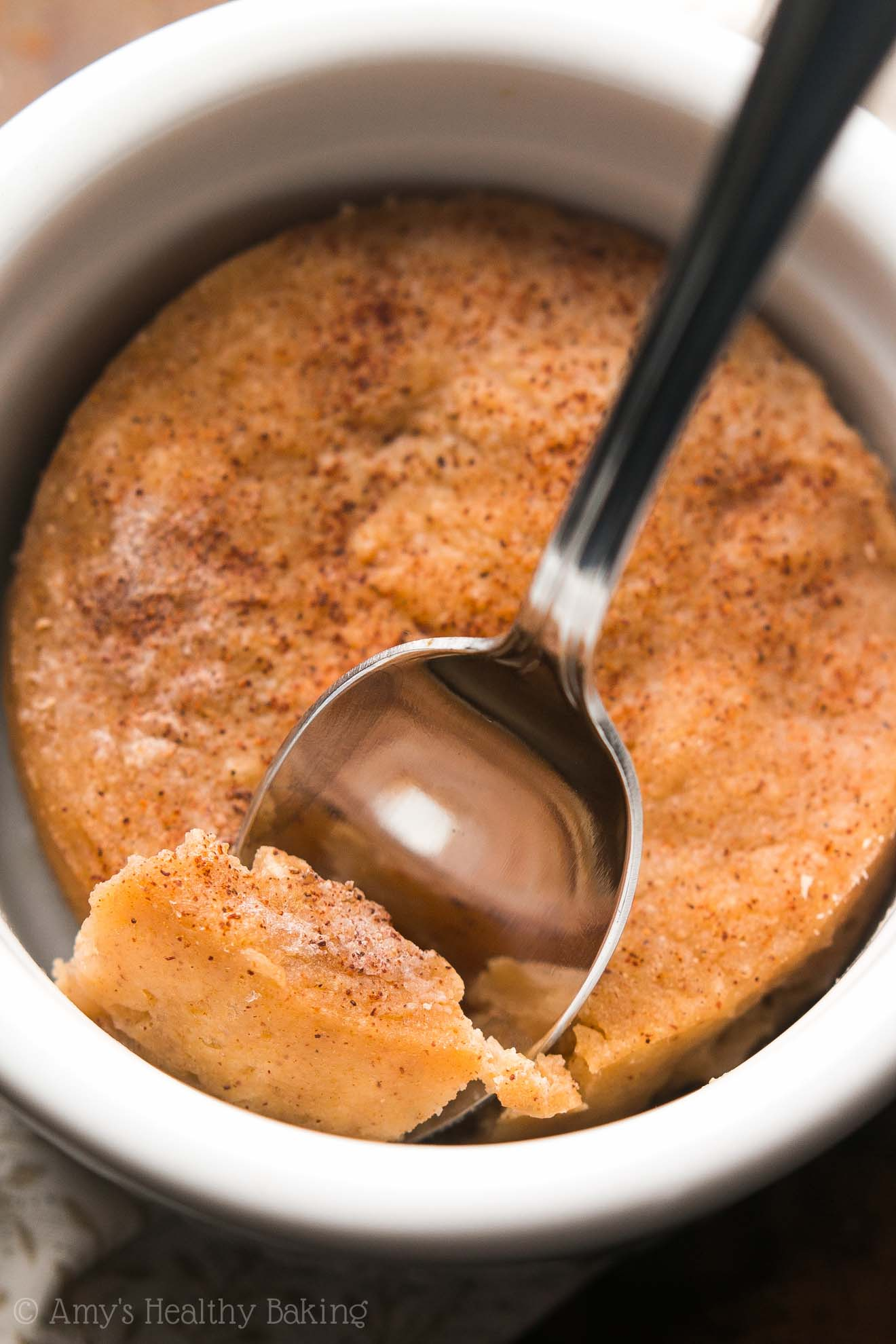 This Skinny Snickerdoodle Mug Cake doesn't taste healthy at all! It's SO good -- you'll never need another recipe! Sweet, perfectly tender & 5g+ of protein!