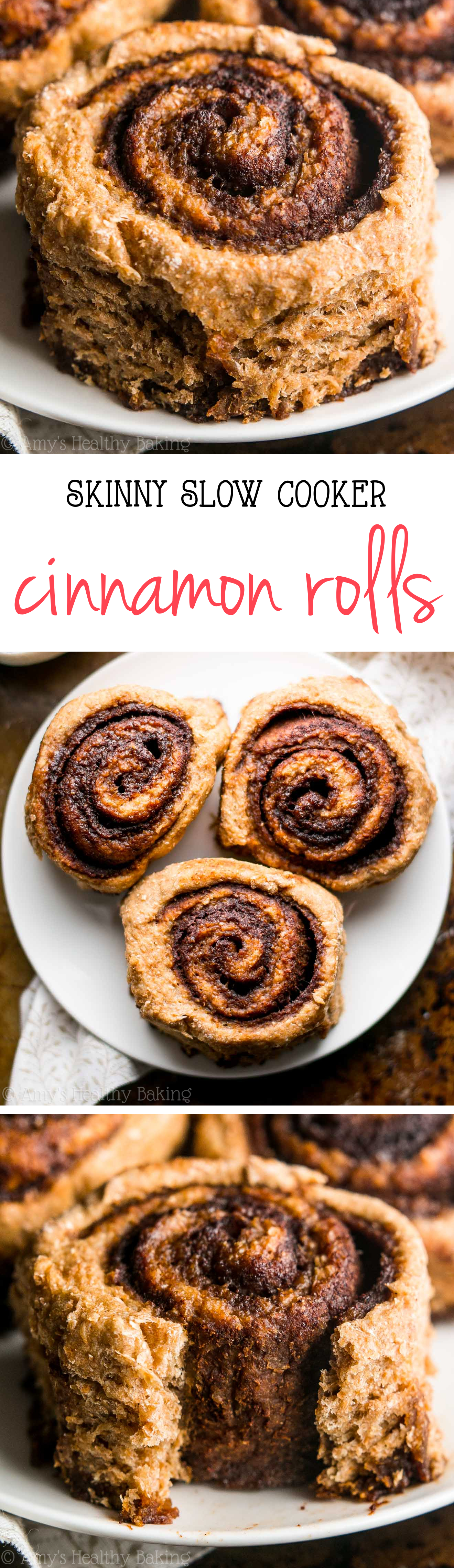Skinny Slow Cooker Cinnamon Rolls -- my family called these the BEST they've ever had! They don't taste healthy at all & they're just 112 calories!