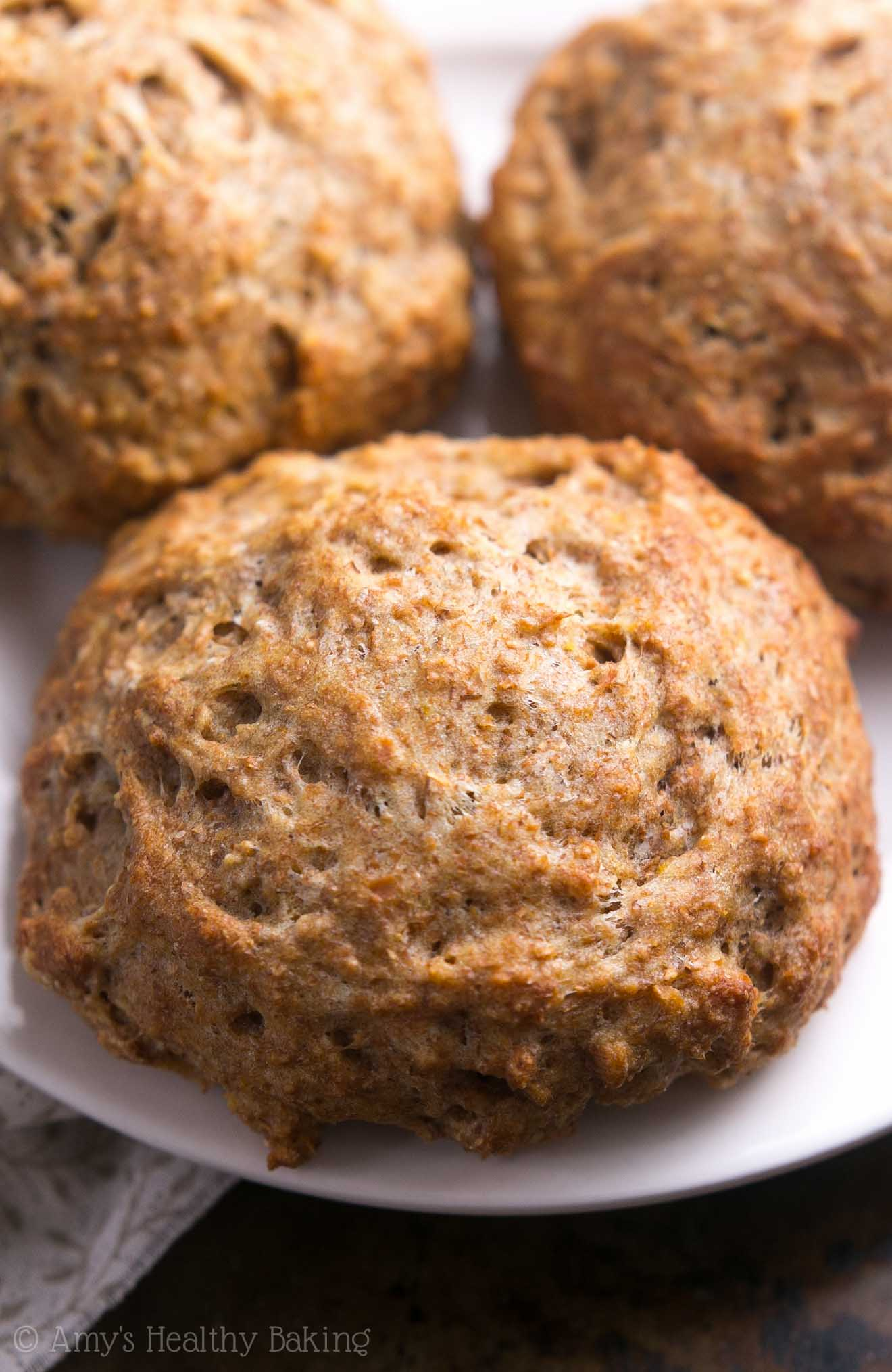 The BEST recipe for healthy buttermilk biscuits! Light, tender, so easy... And packed with nearly 5g of protein!