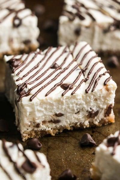 Healthy Chocolate Chip Cheesecake Bars