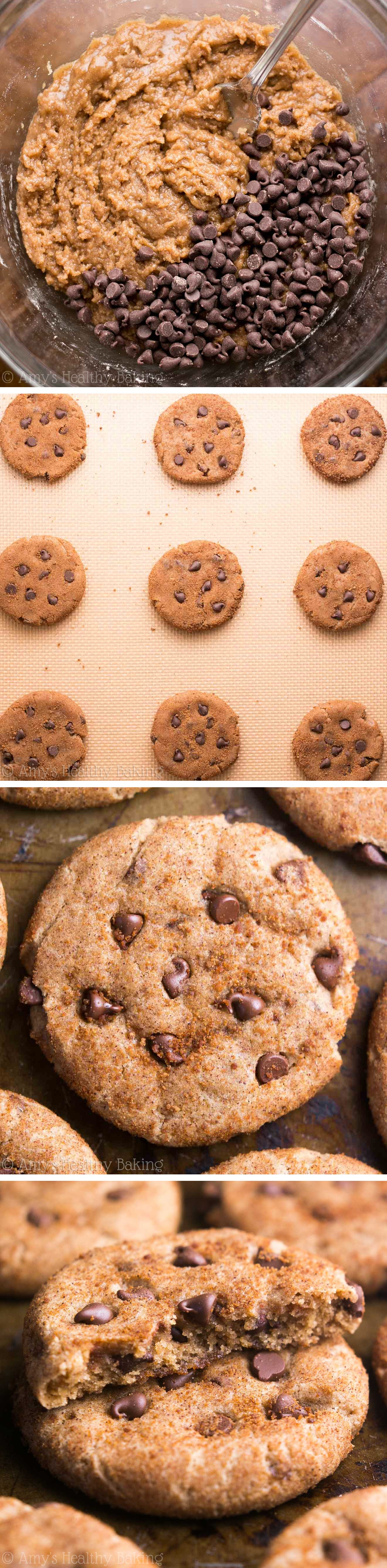 Skinny Chocolate Chip Snickerdoodles -- the perfect combo of cookie flavors! Made with NO refined flour or sugar, but they don't taste healthy at all!