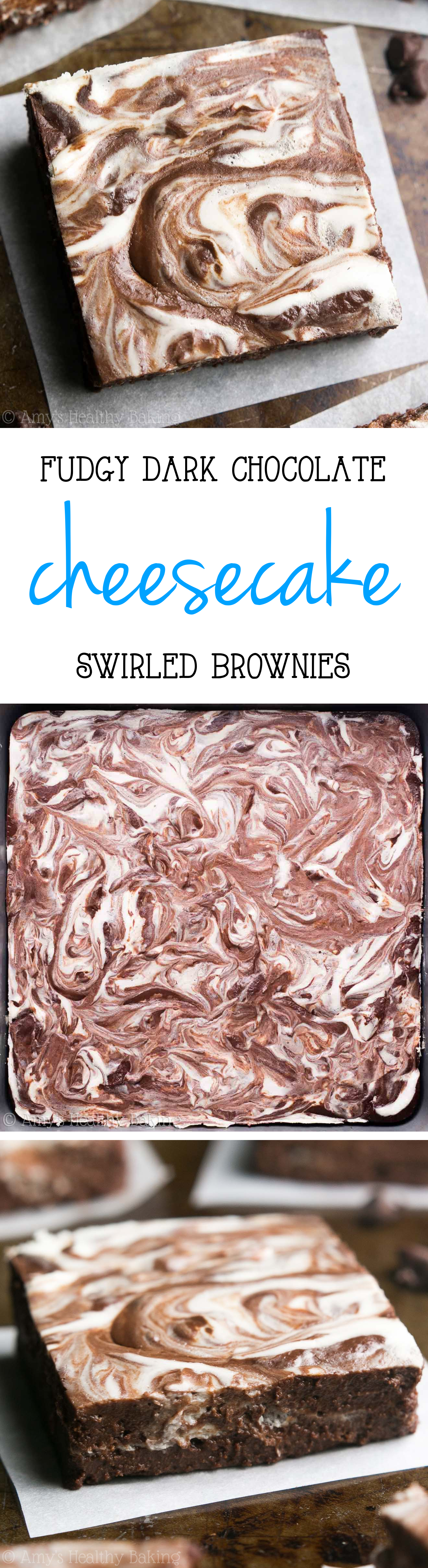 Healthy Cheesecake Swirled Brownies -- my favorite recipe! Rich, fudgy, super easy & just 80 calories!