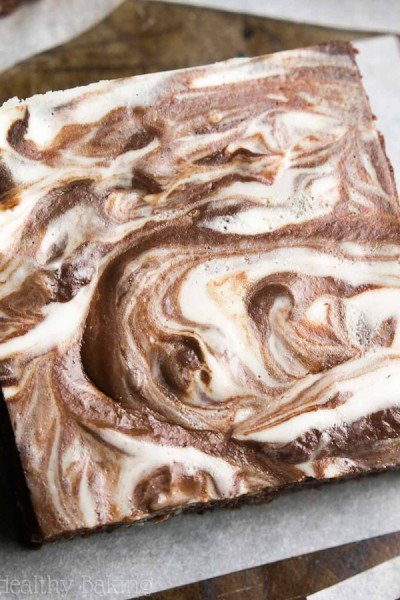 Fudgy Dark Chocolate Cheesecake Swirled Brownies