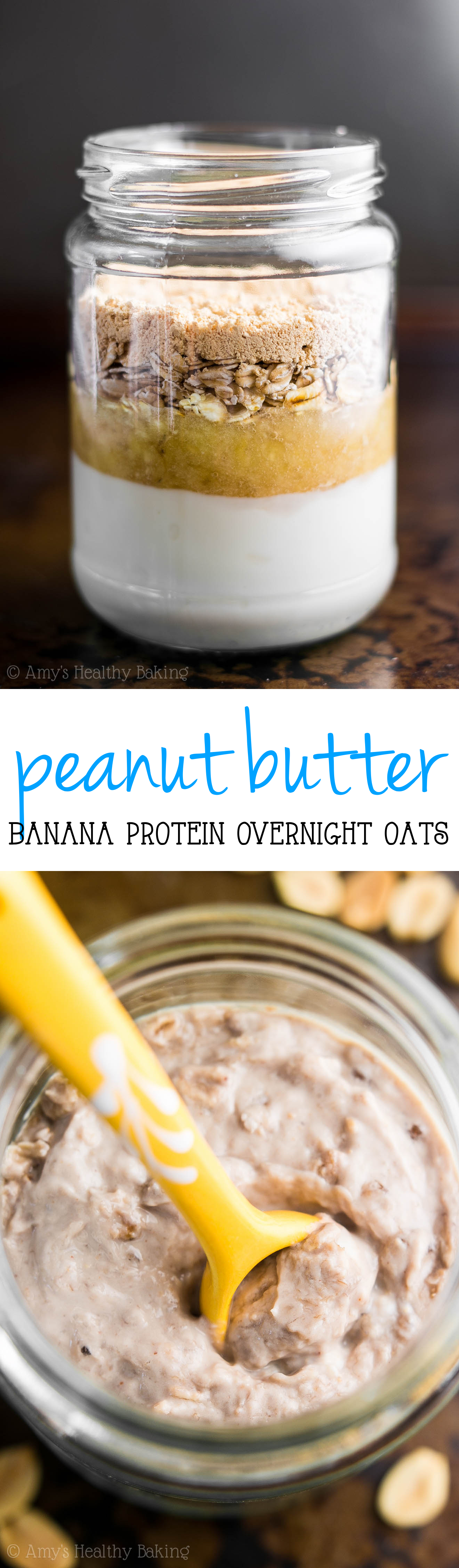 Peanut Butter Banana Protein Overnight Oats -- just 5 healthy ingredients & nearly 19g of protein! My favorite breakfast for busy mornings! SO good!