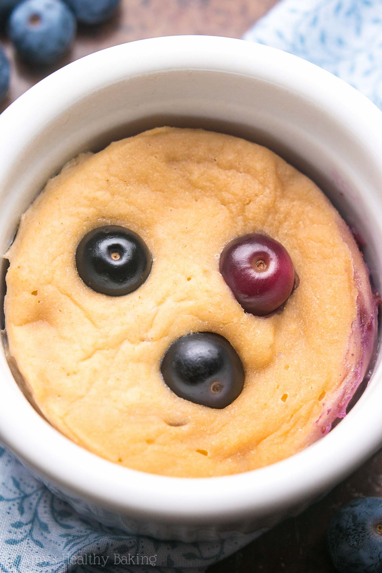 Healthy Single-Serving Blueberry Muffin (in a mug!) -- so easy, so healthy & ready in 10 minutes! And with 5g+ of protein!