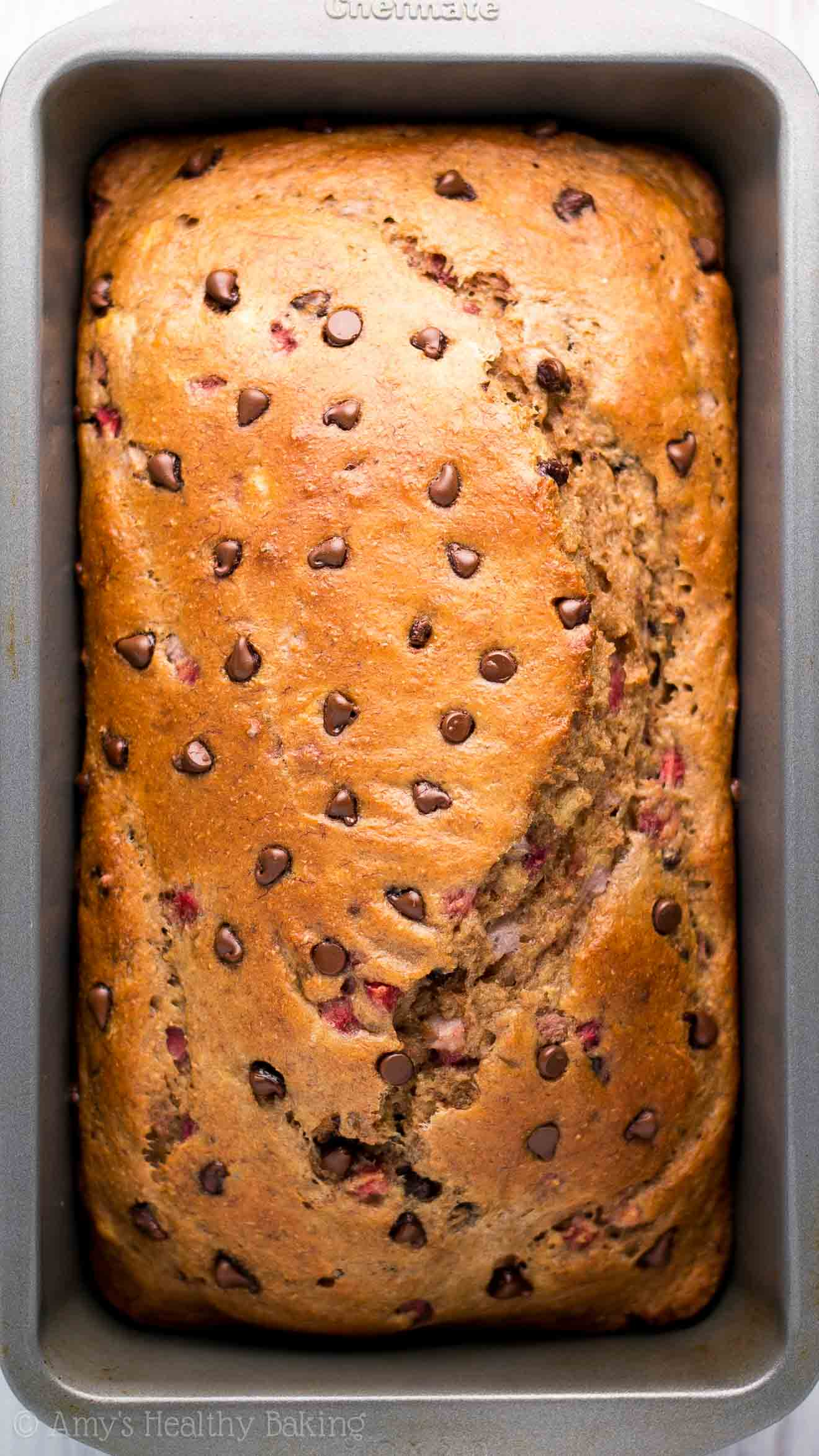 Strawberry Chocolate Chip Banana Bread -- an easy breakfast or snack! This healthy recipe is full of fruit & just 129 calories!