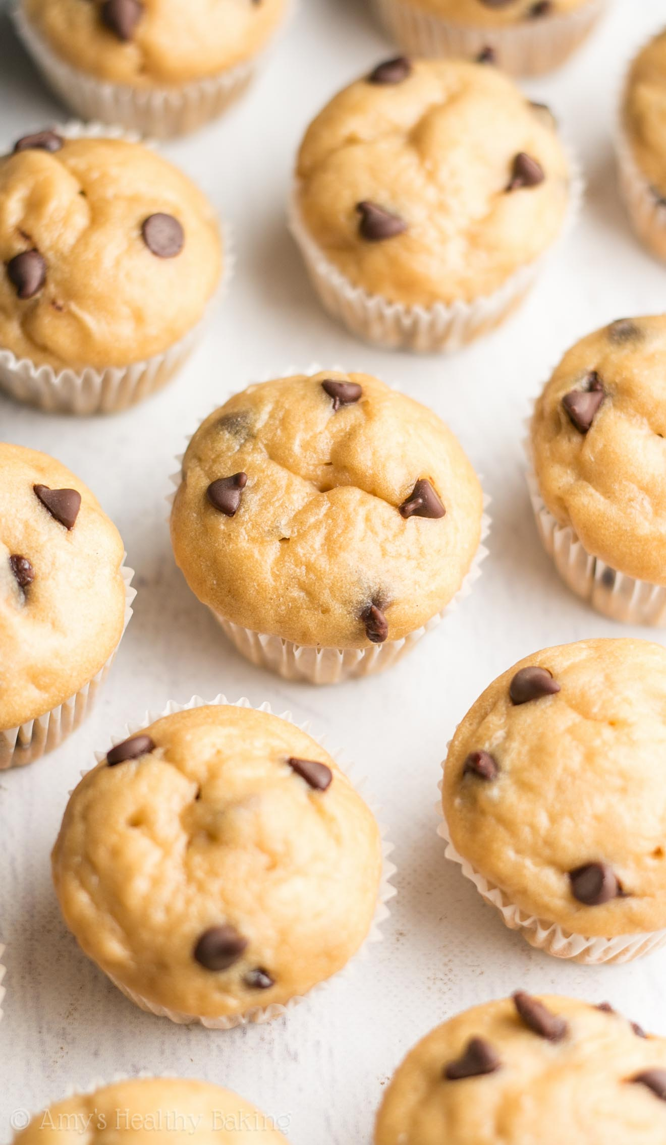 Healthy Chocolate Chip Mini Muffins | Amy's Healthy Baking