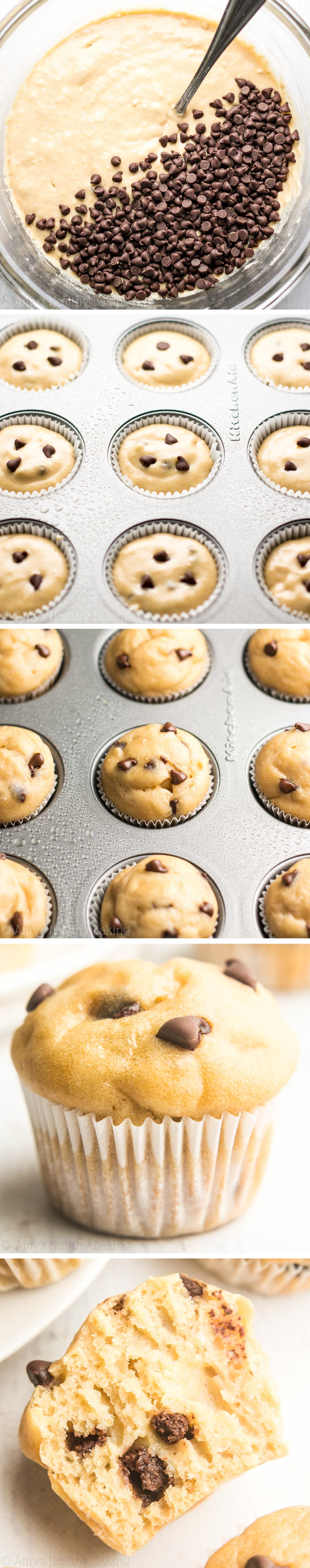 Chocolate Chip Mini Muffins -- so easy, so tender, so good! Even better, they're 100% healthy & just 49 calories!