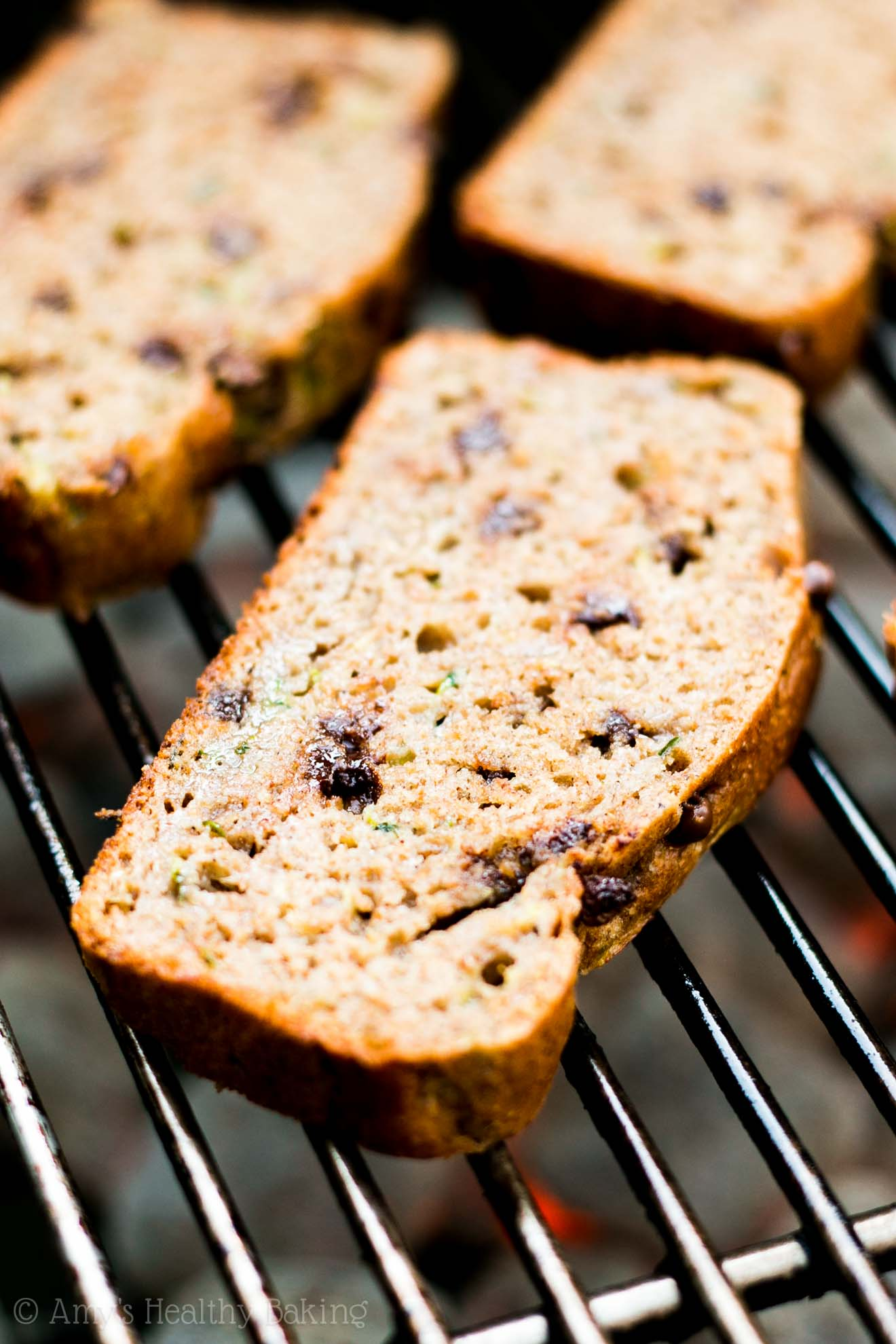 Grilled Chocolate Chip Zucchini Bread -- my favorite easy & healthy summer dessert recipe! Barely 10 minutes to make & nearly 5g of protein!