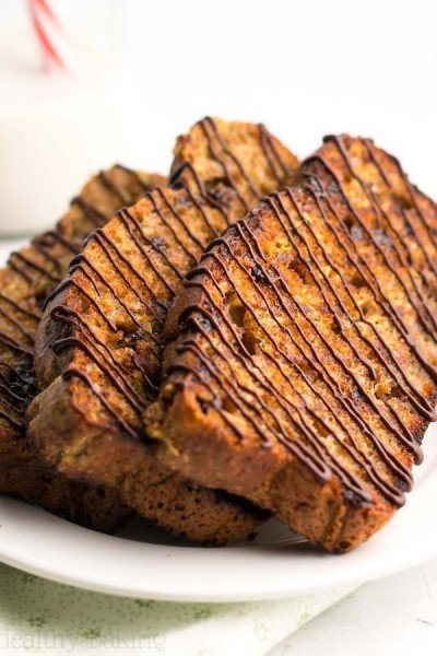 Dark Chocolate Drizzled Grilled Chocolate Chip Zucchini Bread