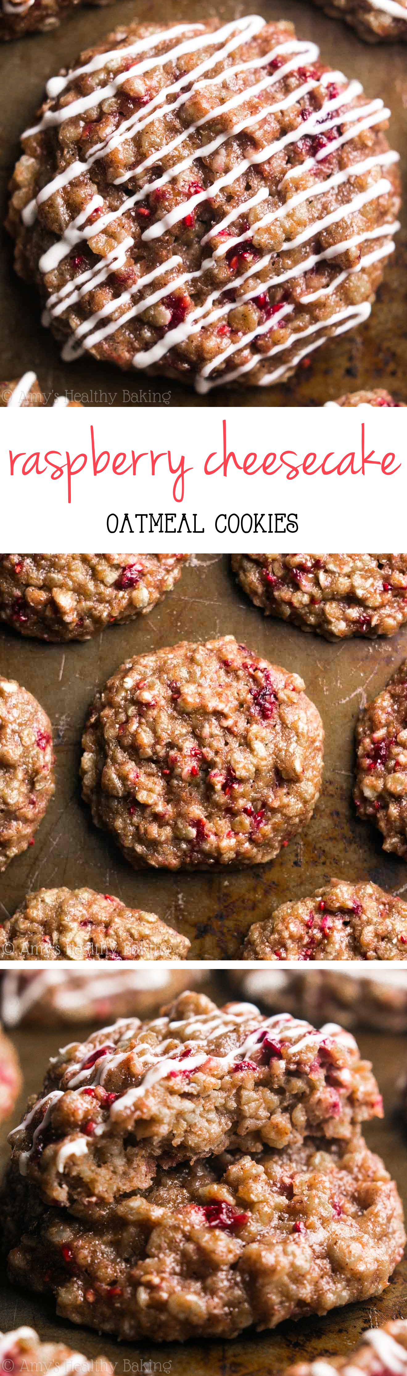 Clean-Eating Raspberry Cheesecake Oatmeal Cookies -- just 91 calories, but these skinny cookies don't taste healthy at all! You'll never need another oatmeal cookie recipe again!