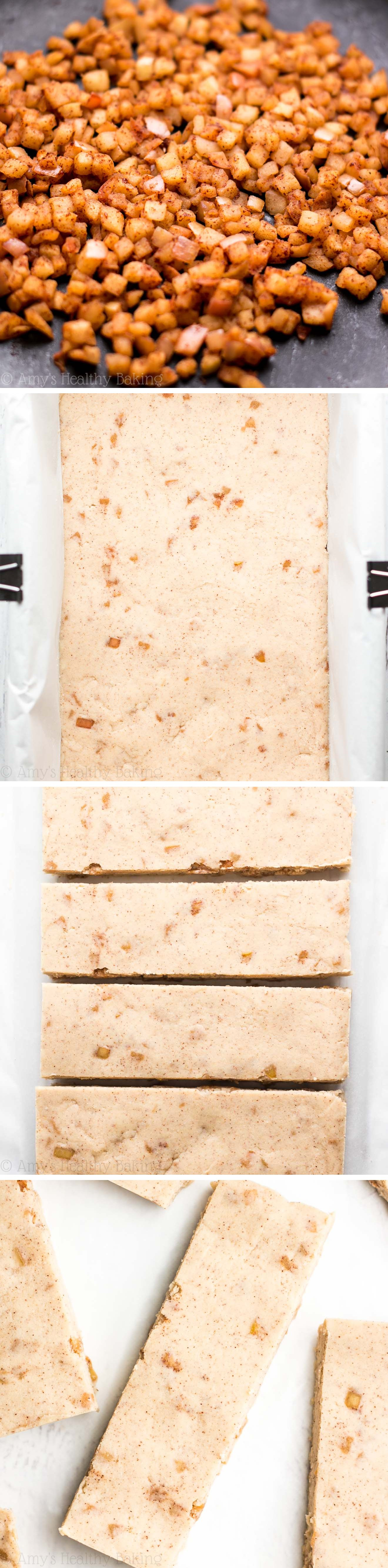 Healthy Apple Pie Protein Bars -- they taste just like the dessert! Only 74 calories & 10g+ of protein!