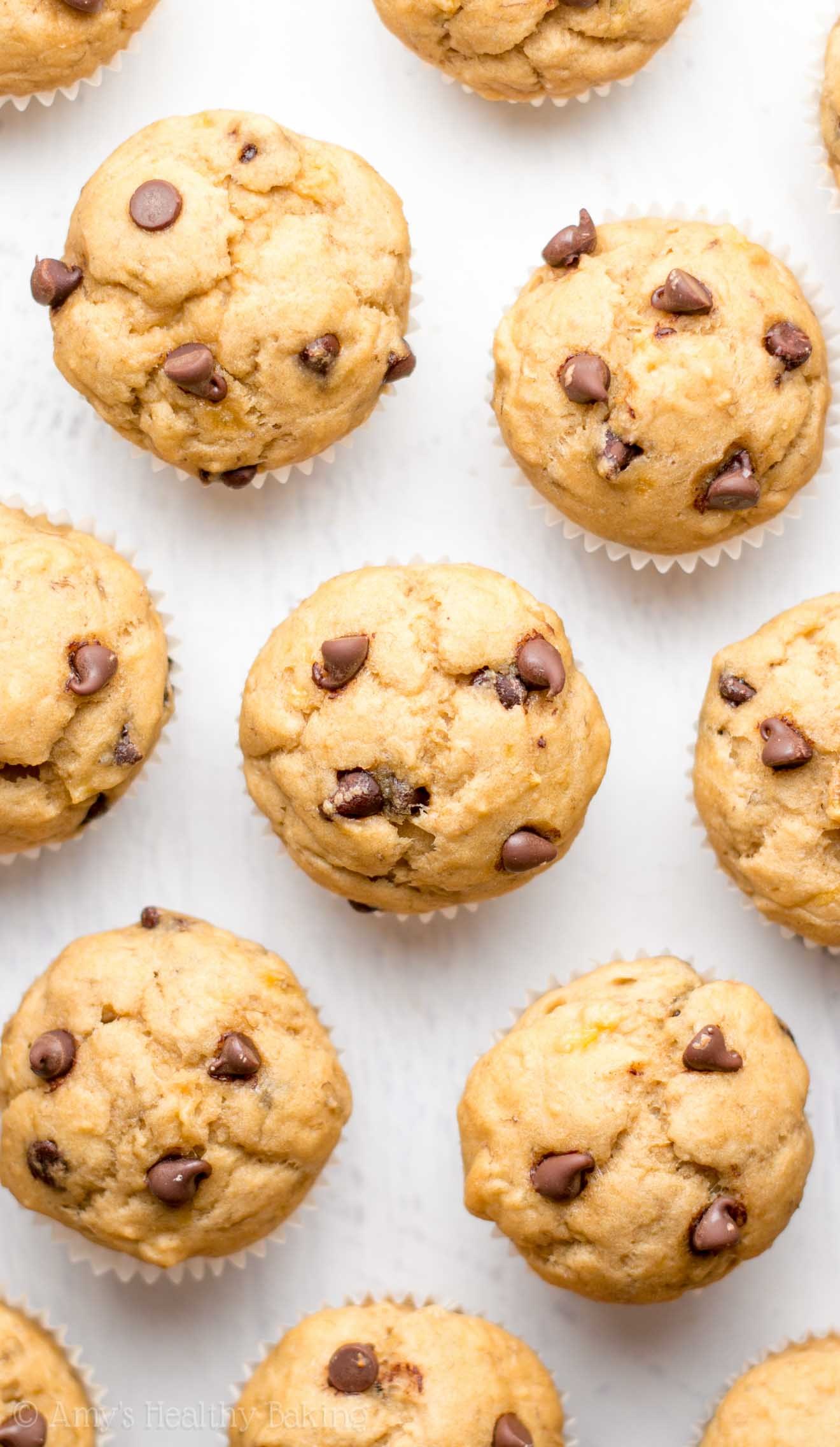 Chocolate Chip Banana Mini Muffins | Amy's Healthy Baking
