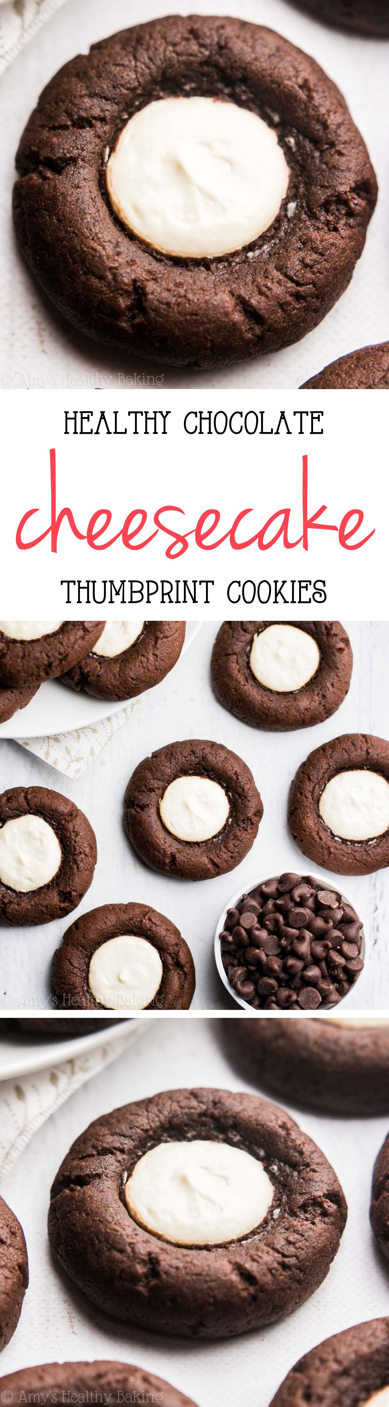 Dark Chocolate Cheesecake Thumbprint Cookies | Amy's Healthy Baking
