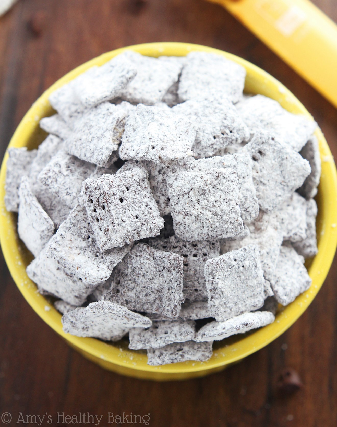 Skinny Dark Chocolate Cinnamon Muddy Buddies -- from the Healthier Chocolate Treats Cookbook!