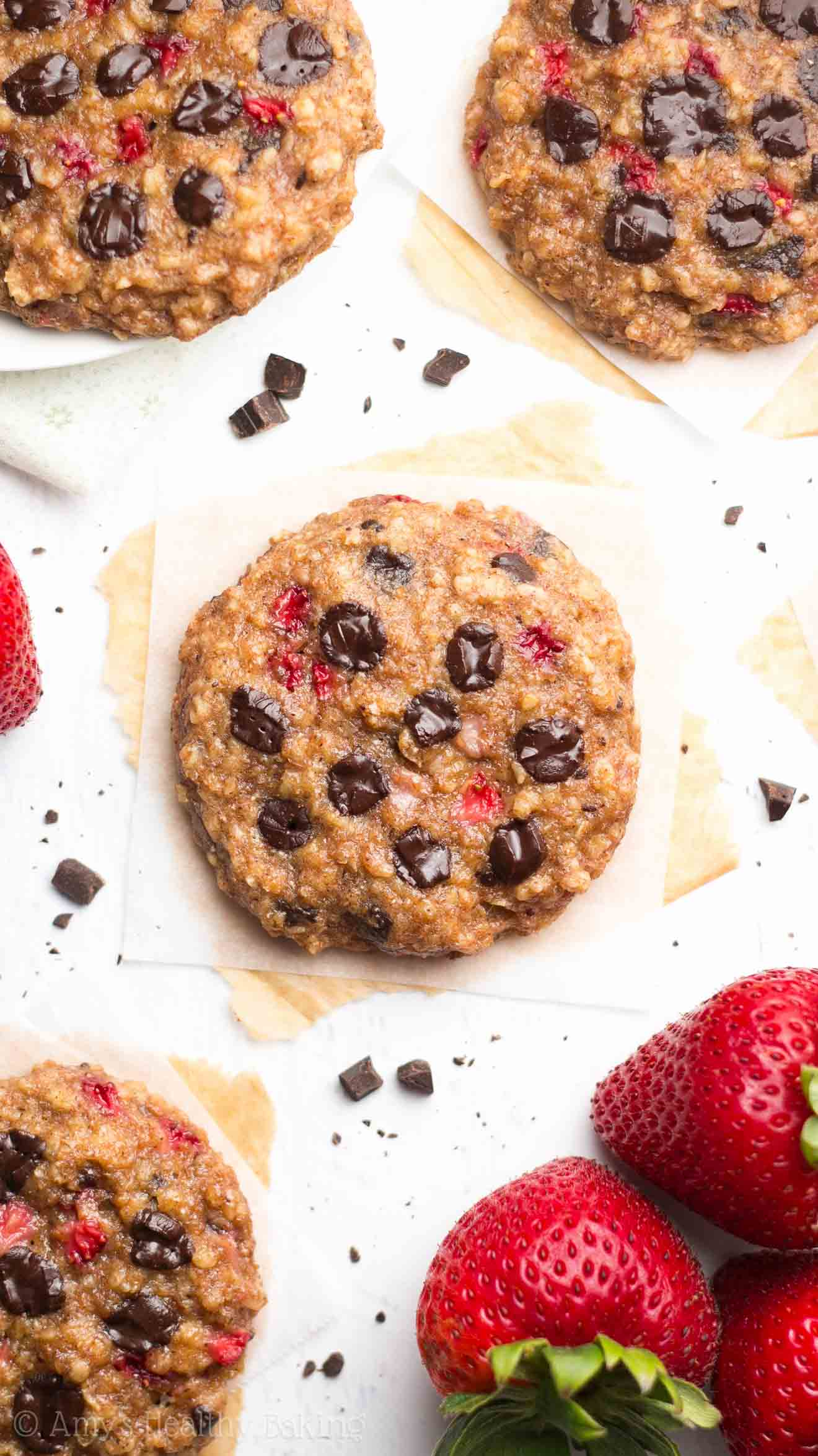 Dark Chocolate Strawberry Oatmeal Cookies   Amy's Healthy Baking