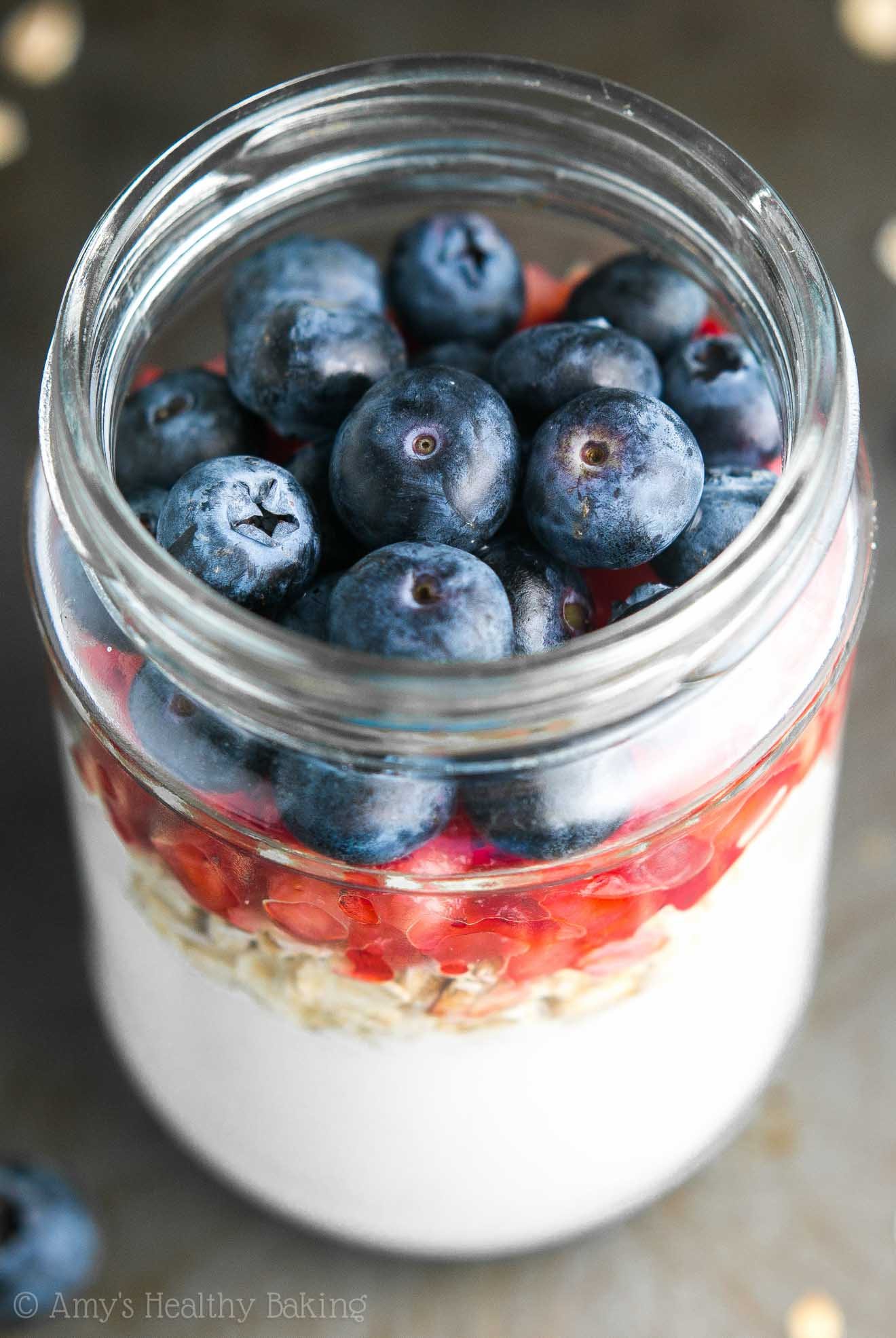 Mixed Berry Protein Overnight Oats -- just 6 healthy ingredients & 16g+ of protein! I make this recipe ALL the time. It's perfect for busy mornings!