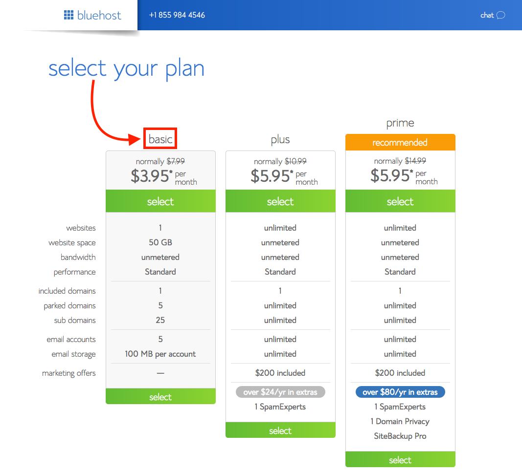 Sign Up for BlueHost: Plan Options
