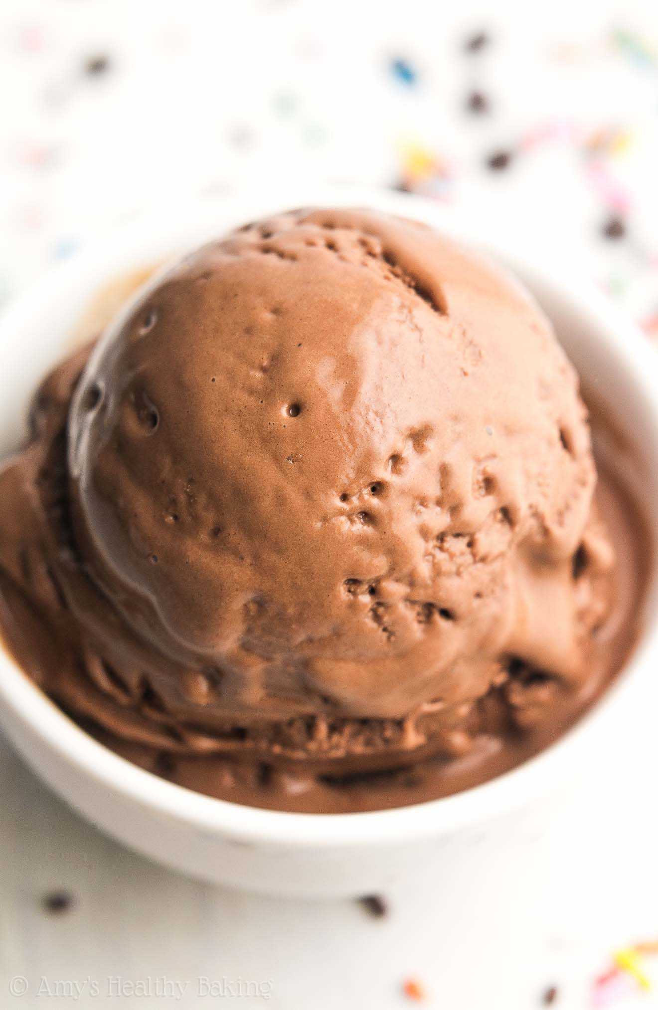 The ULTIMATE Healthy Chocolate Ice Cream -- just 85 calories & 8g+ of protein! It tastes so rich & like it came from a fancy ice cream parlor, not healthy at all! SO easy to make too!