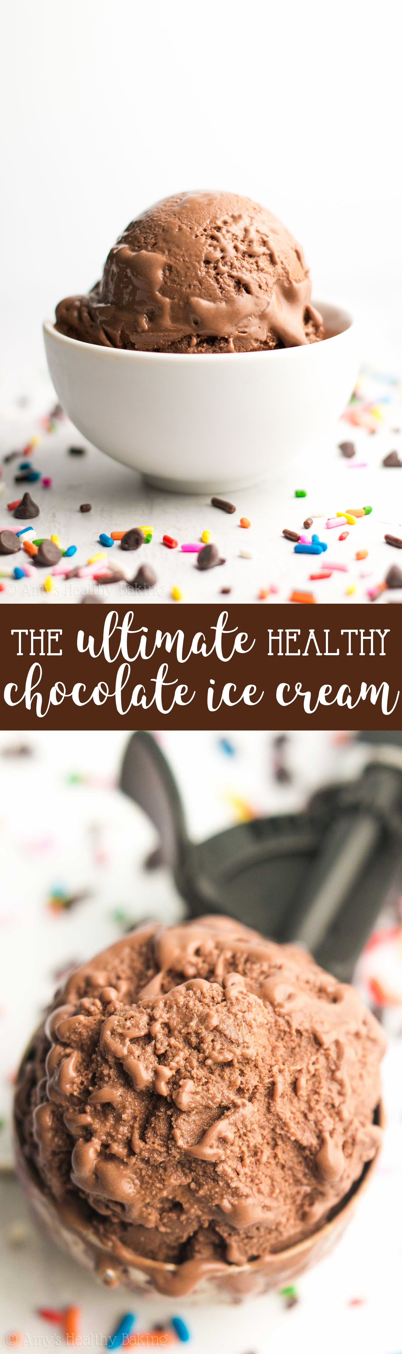 The ULTIMATE Healthy Chocolate Ice Cream -- just 85 calories! It tastes so rich & like it came from a fancy ice cream parlor, not healthy at all! SO easy to make & 8g+ of protein too!