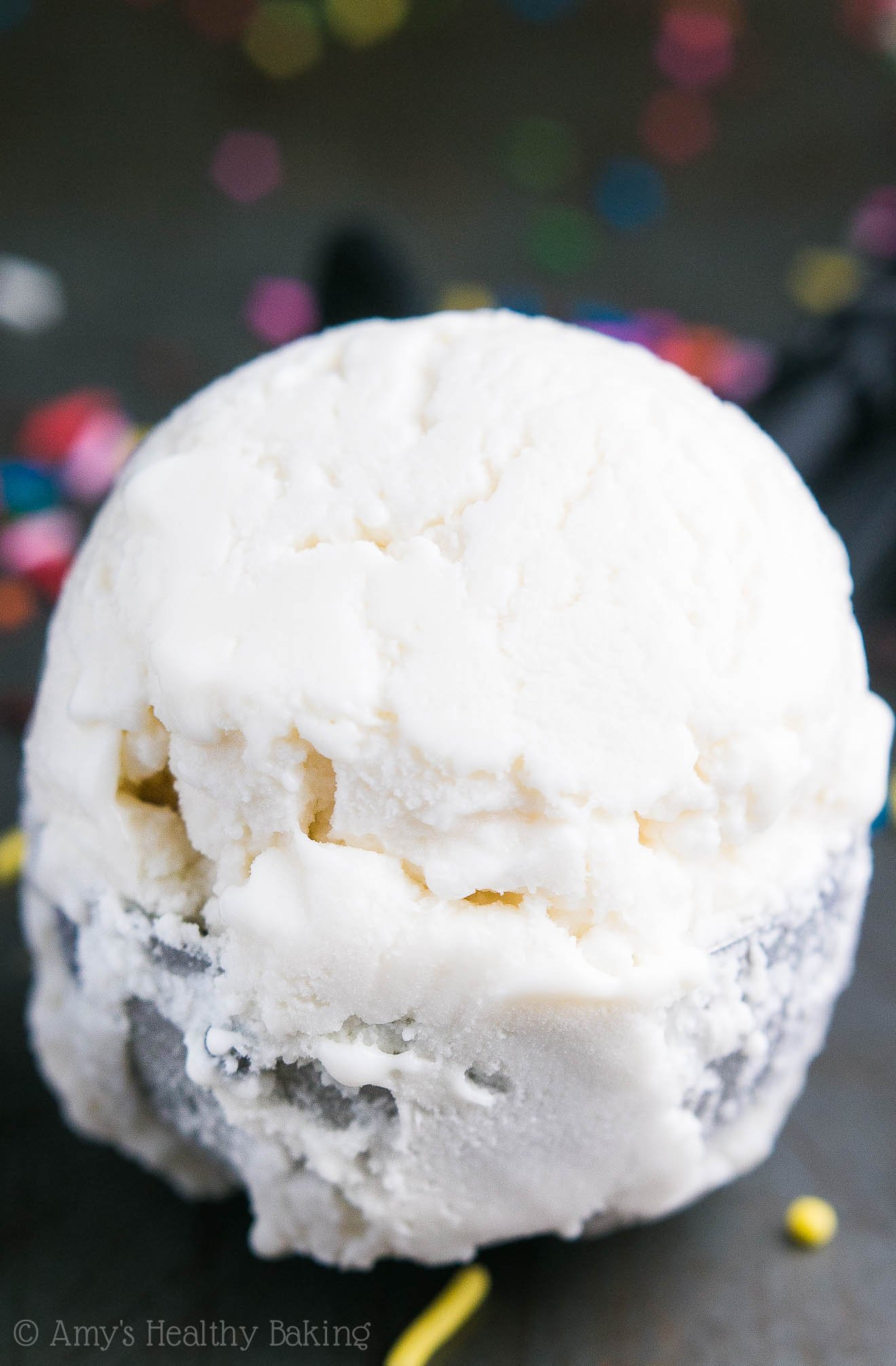 Skinny Vanilla Ice Cream -- just 78 calories + nearly 8g of protein! It tastes exactly like what you'd get at an ice cream parlor, not healthy at all!