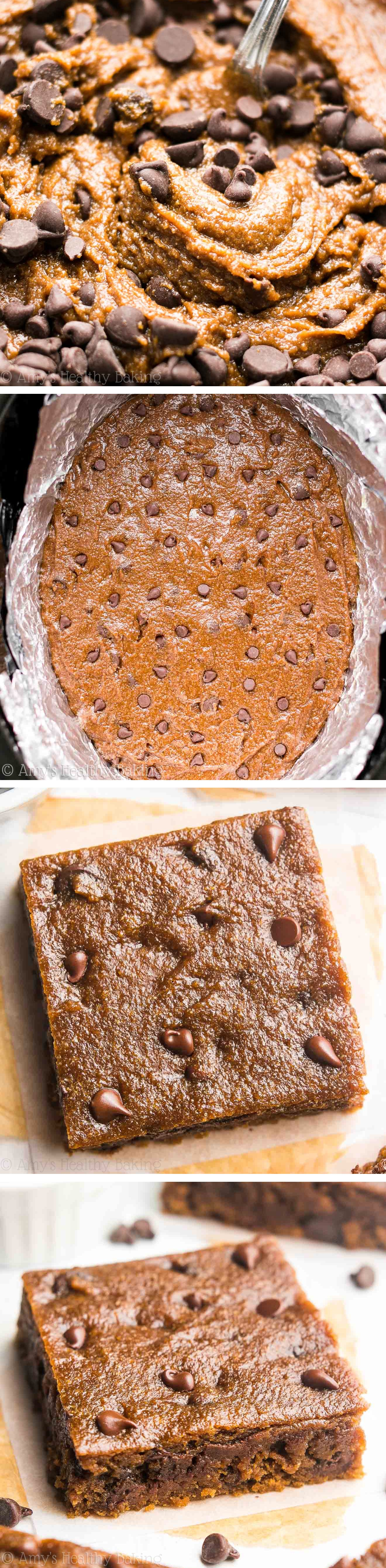 Skinny Slow Cooker Chocolate Chip Cookie Bars | Amy's Healthy Baking