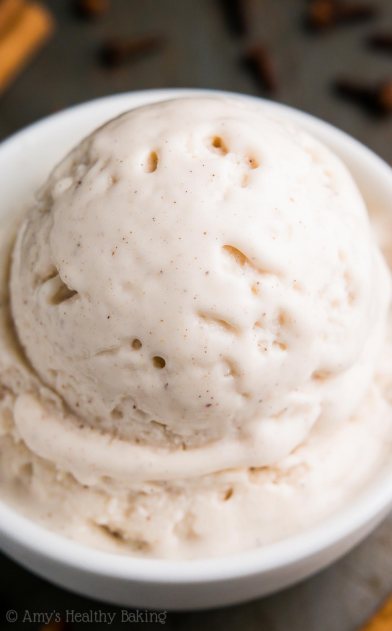 Skinny Chai Spice Ice Cream -- just 78 calories & nearly 8g of protein! It tastes like it came from a gourmet ice cream parlor, NOT healthy at all!