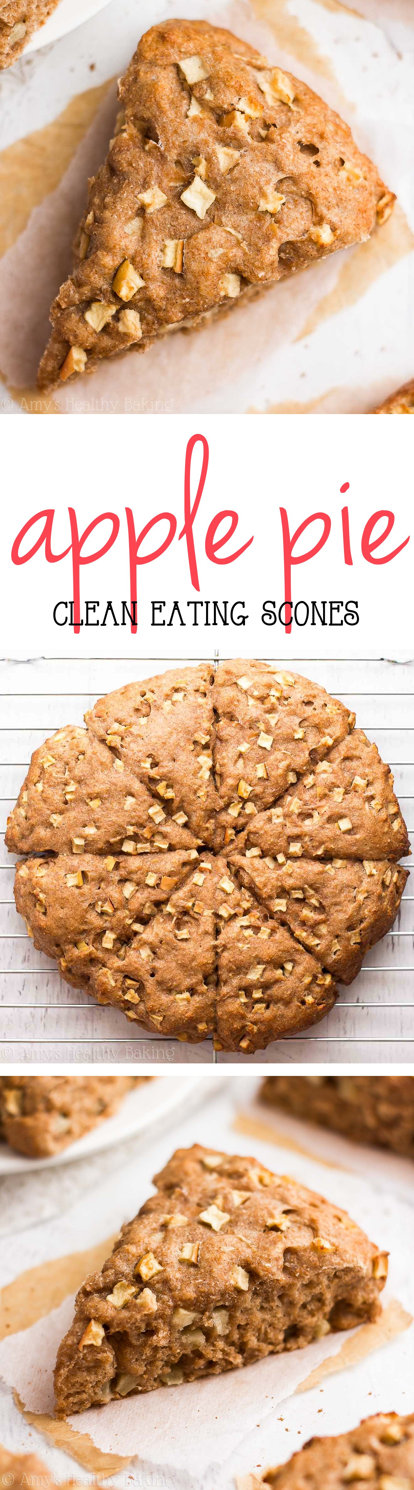 Healthy Apple Pie Scones -- just 140 calories + nearly 5g of protein! These taste like you're eating dessert for breakfast with NO guilt!