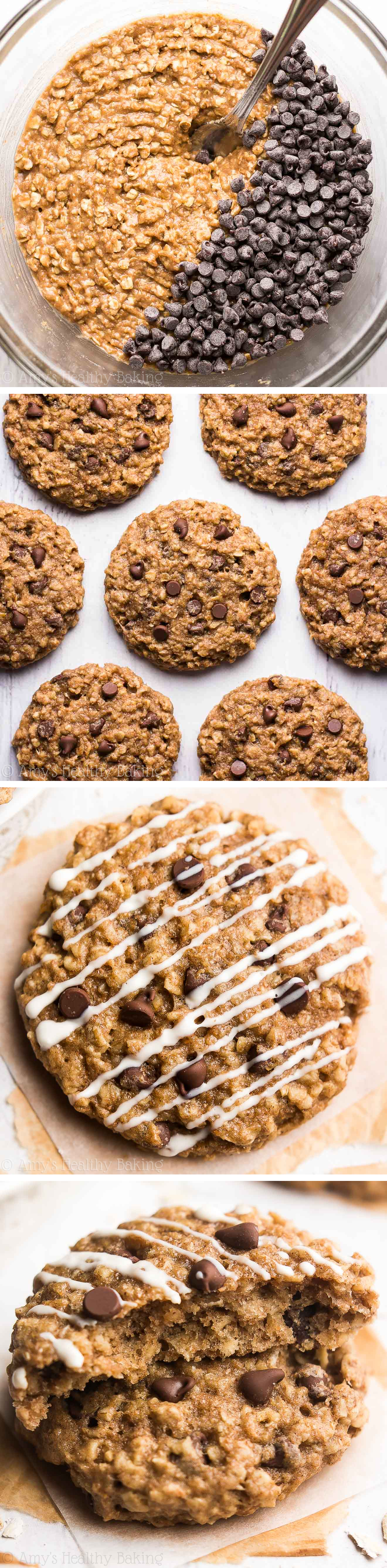 Skinny Chocolate Chip Cheesecake Oatmeal Cookies -- just 103 calories, but these cookies don't taste healthy at all! You'll never need another oatmeal cookie recipe again!