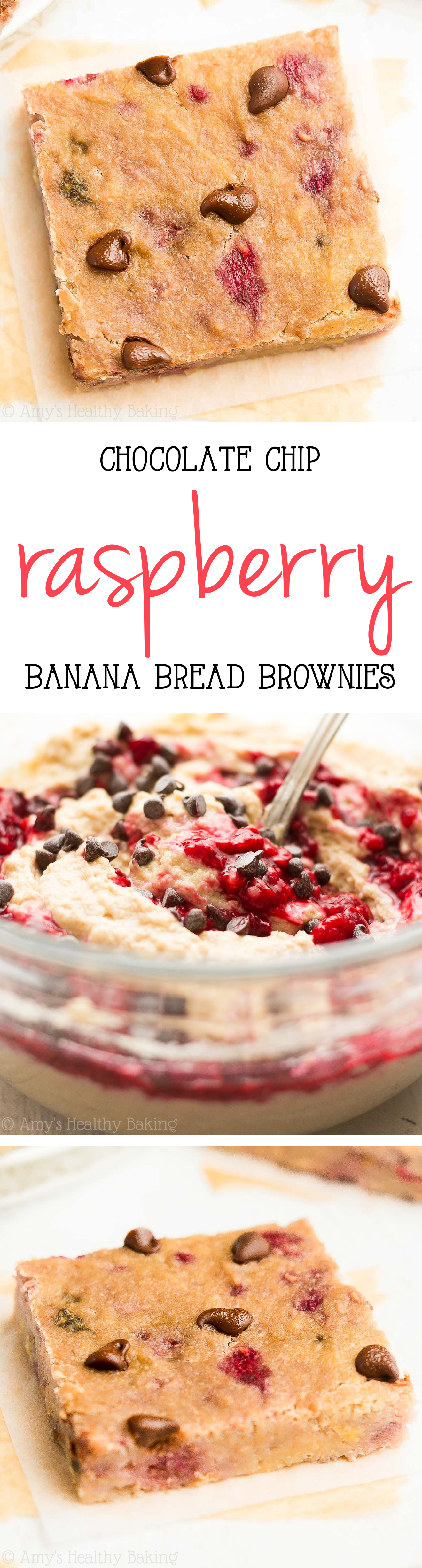 Banana bread flavor + fudgy brownie texture + chocolate chips = AMAZING! And this easy dessert is secretly healthy enough for breakfast! {only 67 calories!}
